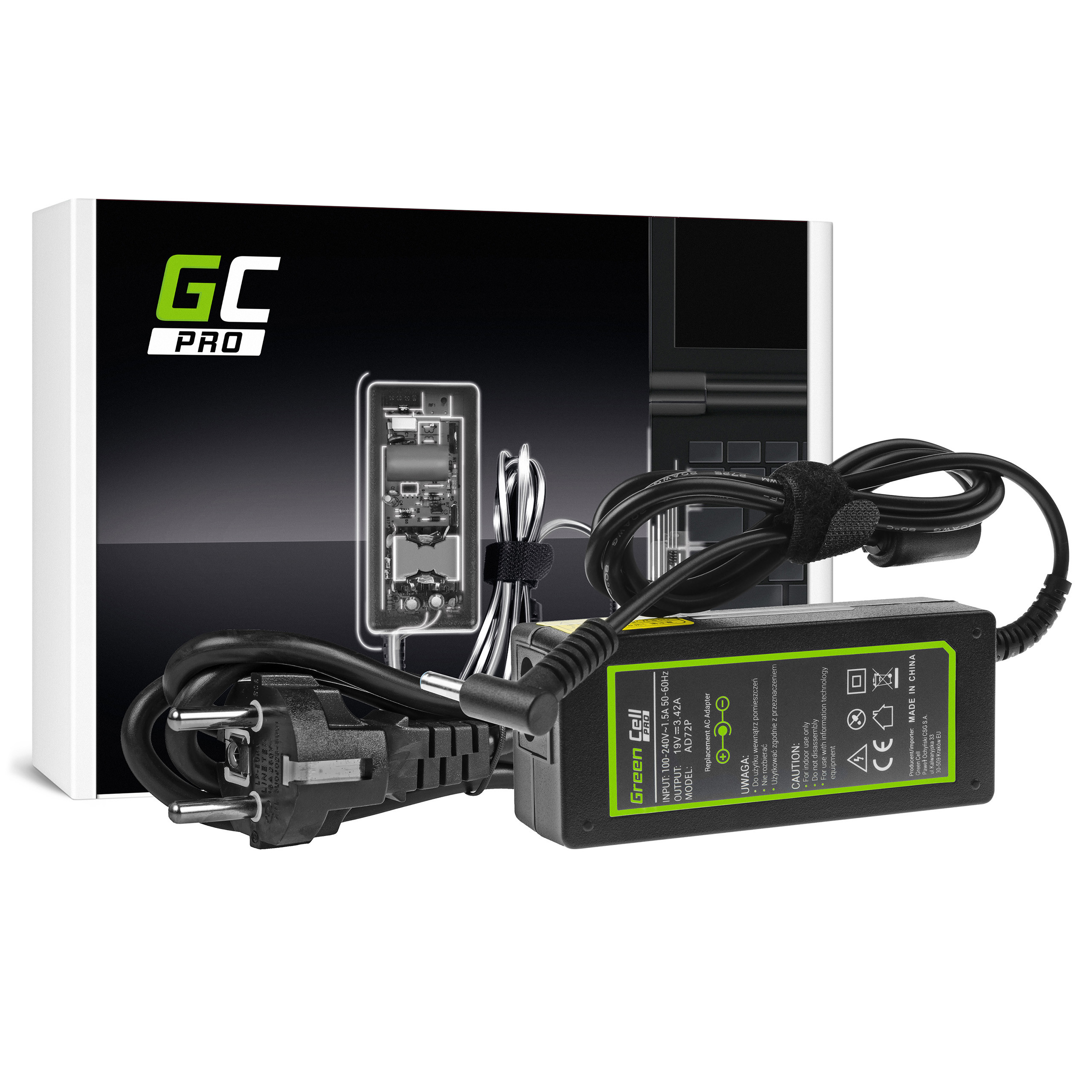 Green Cell AD72P Adaptér Nabíječka PA-1650-78 pro AsusPro BU400 BU400A BU400V Essential PU301 PU401 PU500 PU551 | 19V 3.42A 65W | 4.5 mm - 3.0mm Pin