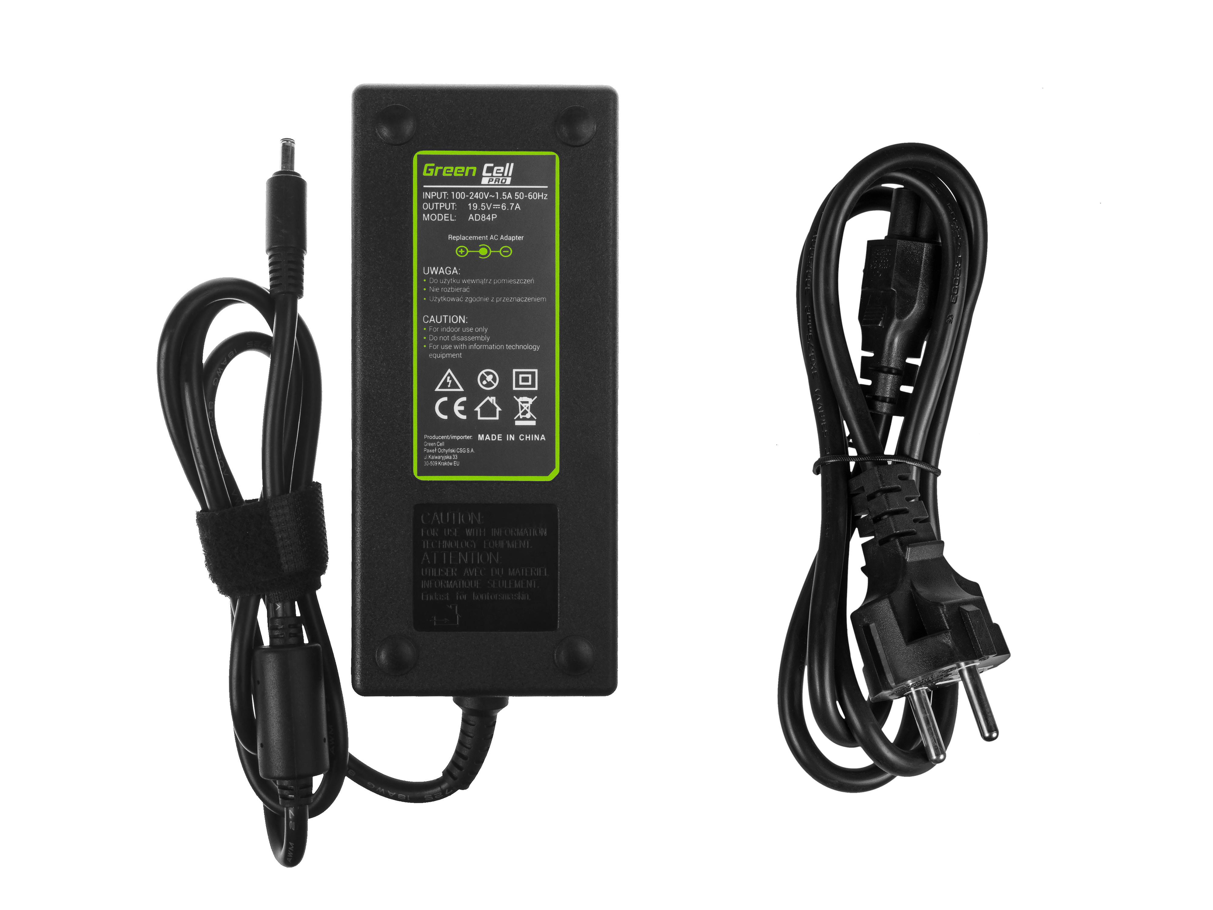 Green Cell PRO Charger  AC Adapter for Dell XPS 15 9530 9550 9560 Precision 15 5510 5520 M3800 19.5V 6.7A 130W