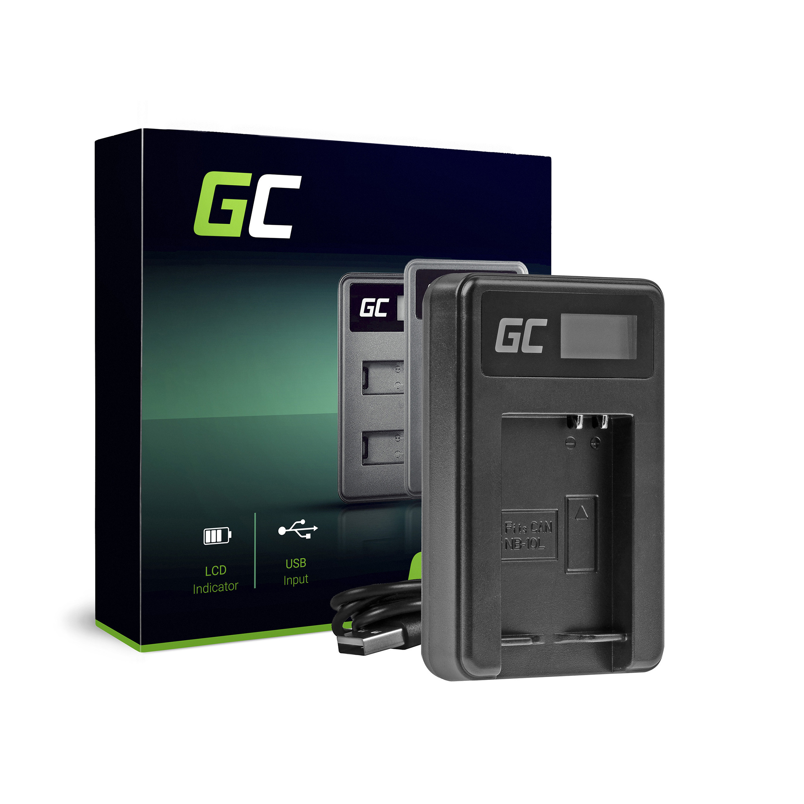 Green Cell Charger CB-2LCE Canon NB-10L PowerShot G15, G16, G1X, G3X, SX40 HS, SX40HS, SX50 HS, SX60 HS