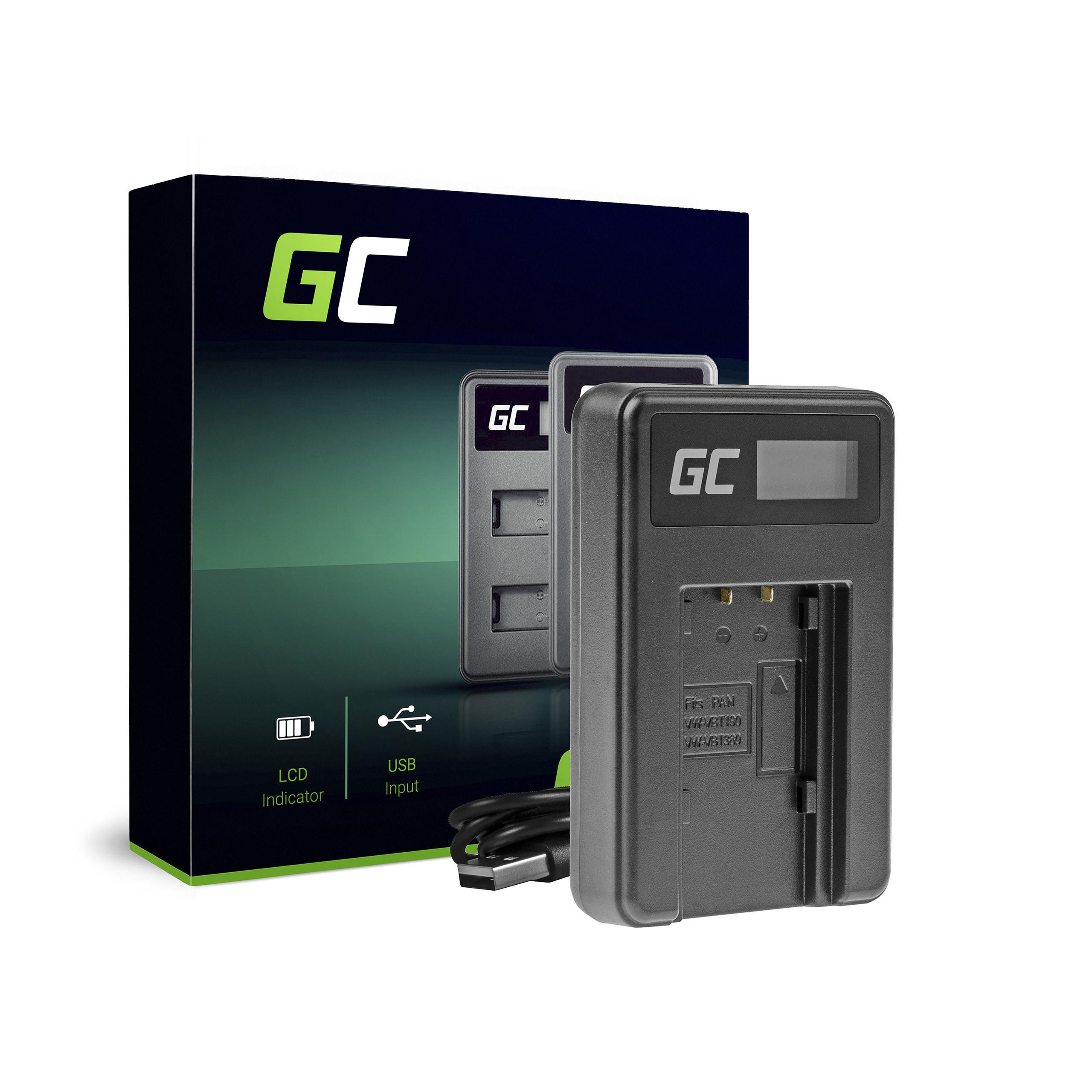 Green Cell Charger VW-BC10 Panasonic VW‑VBT190 HC-250 HC-V130 HC-V510 HC-V770 HC-W580 HC-WX970
