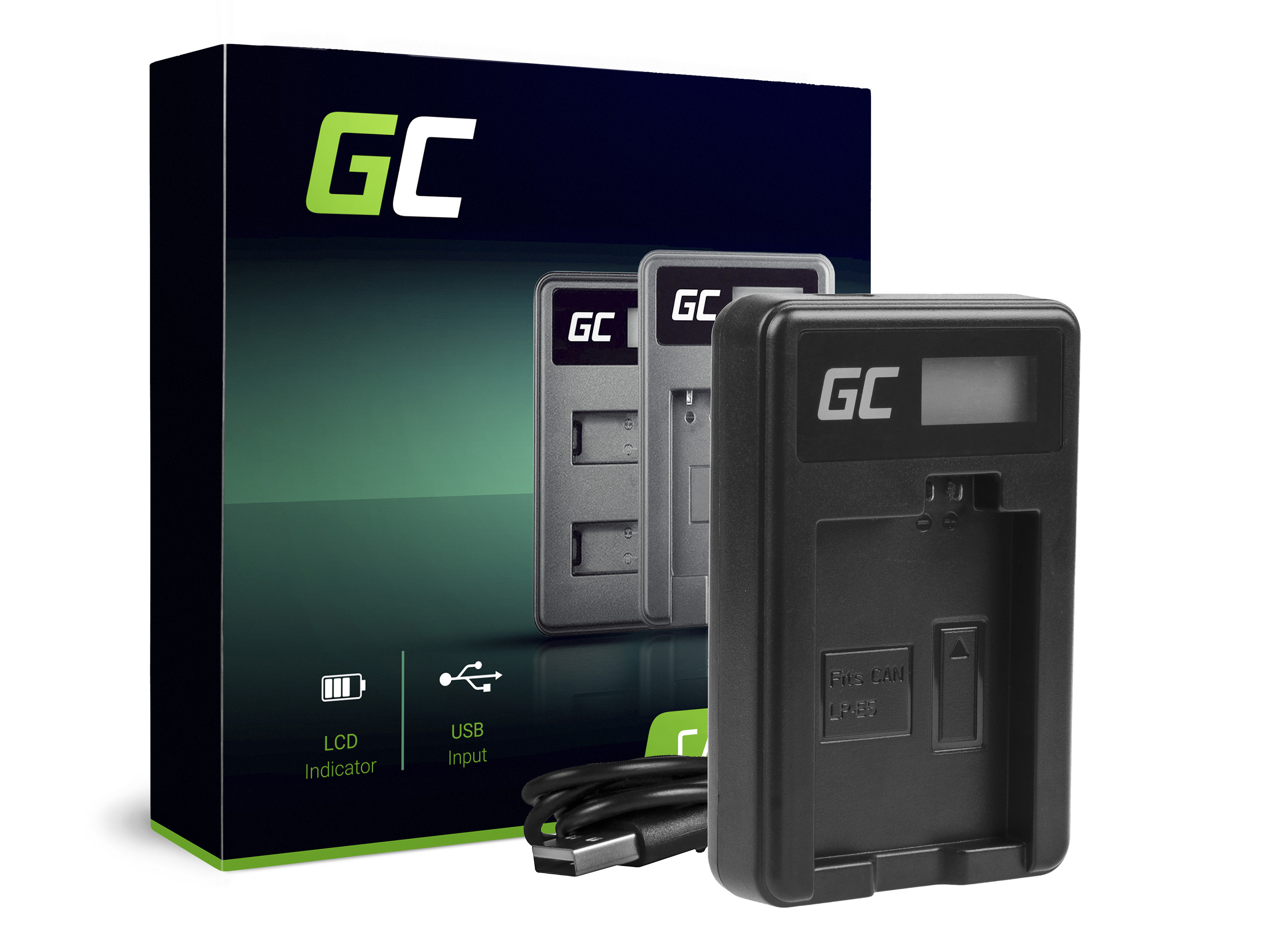 Green Cell Charger CBC-E5, LC-E5 for Canon LP-E5, EOS 450D, 500D, 1000D, Kiss F, X2, X3, Rebel T1i, XS, XSi