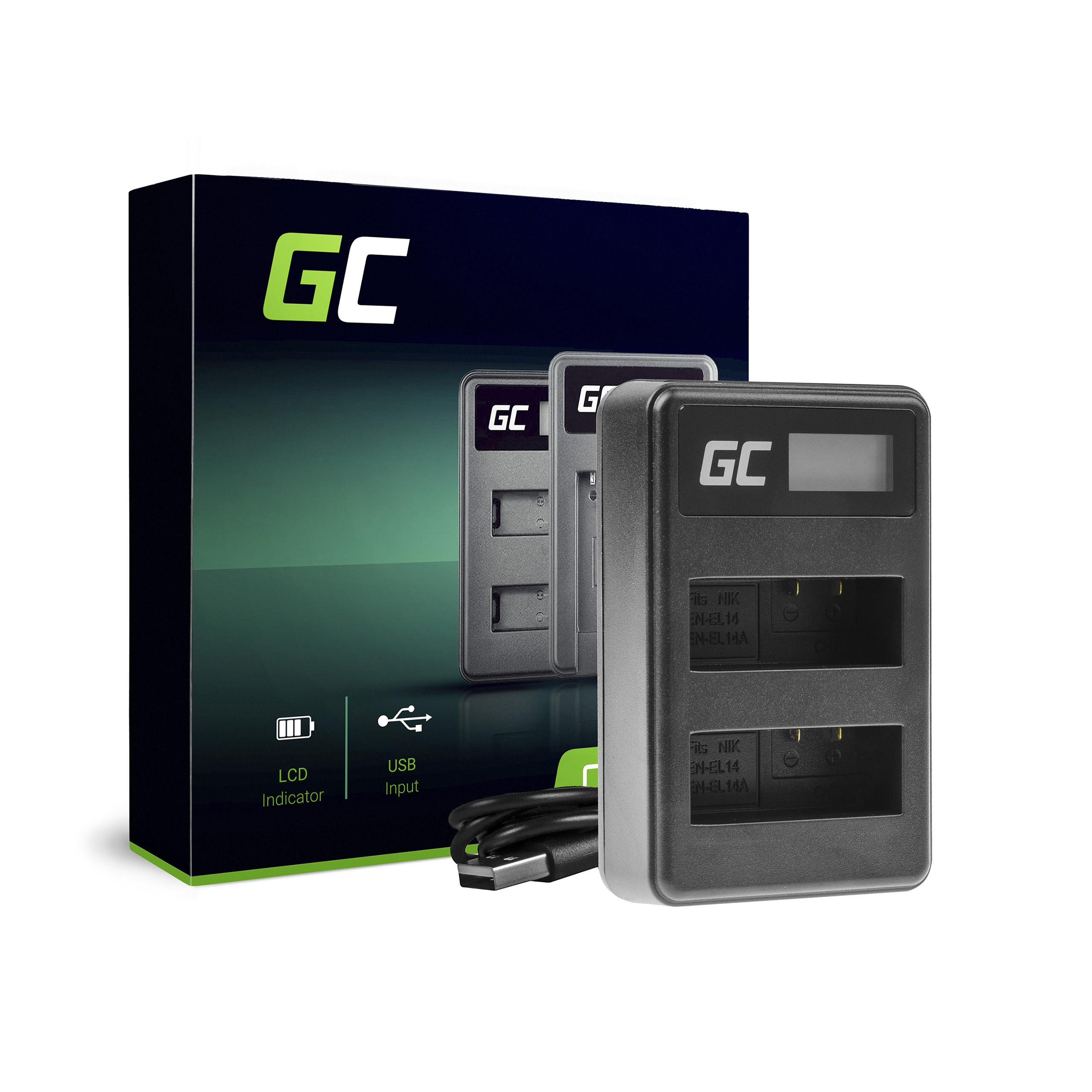 Green Cell Nabíječka MH-24 pro Nikon EN-EL14, D3200, D3300, D5100, D5200, D5300, D5500, Coolpix P7000, P7700, P7800