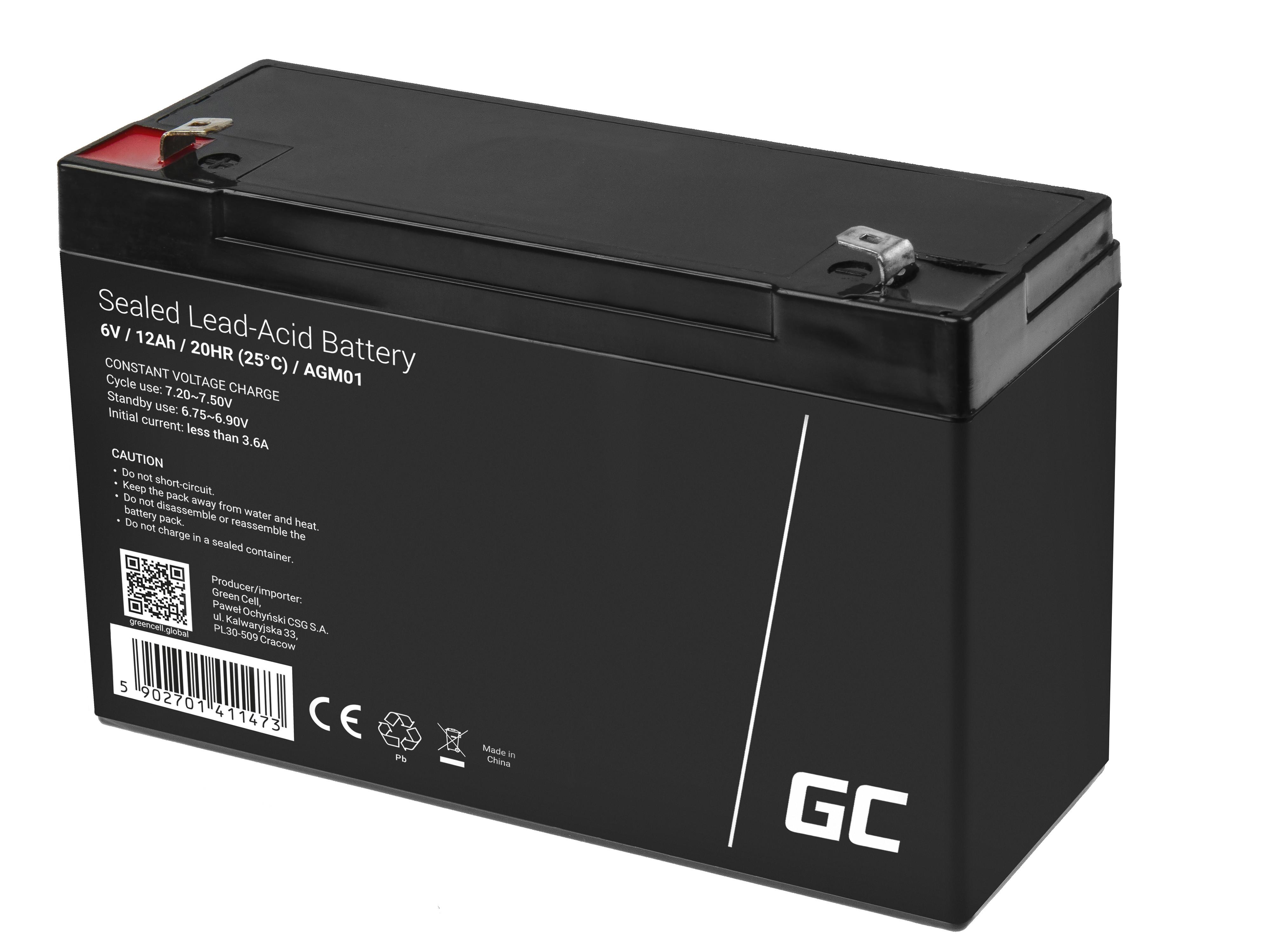 Green Cell AGM Baterie 6V 12Ah