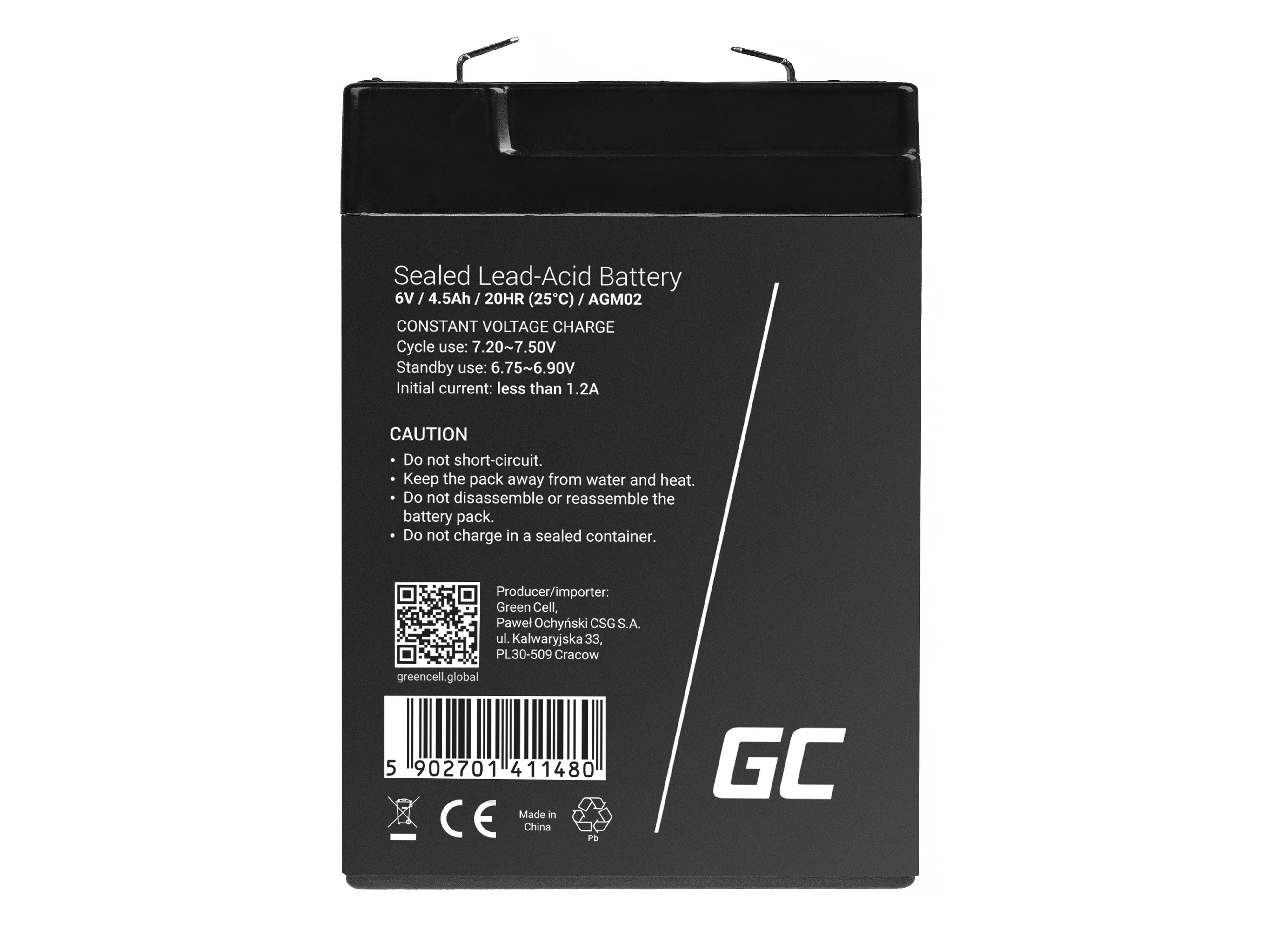 Green Cell AGM Baterie 6V 4.5Ah