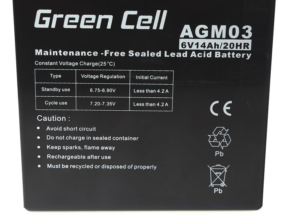 Green Cell Staniční (záložní) Baterie 6V 14Ah
