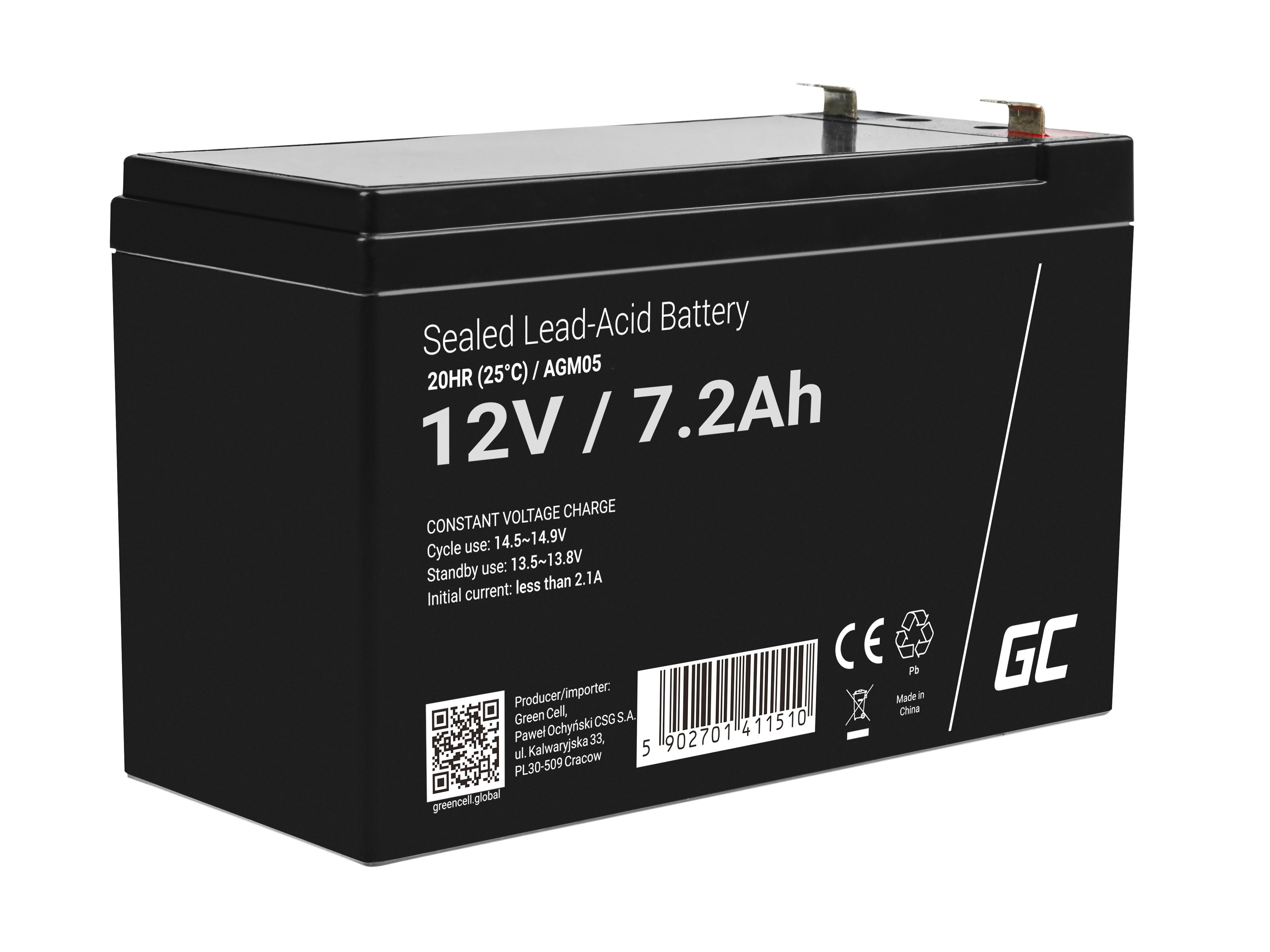 Green Cell AGM Baterie 12V 7.2Ah