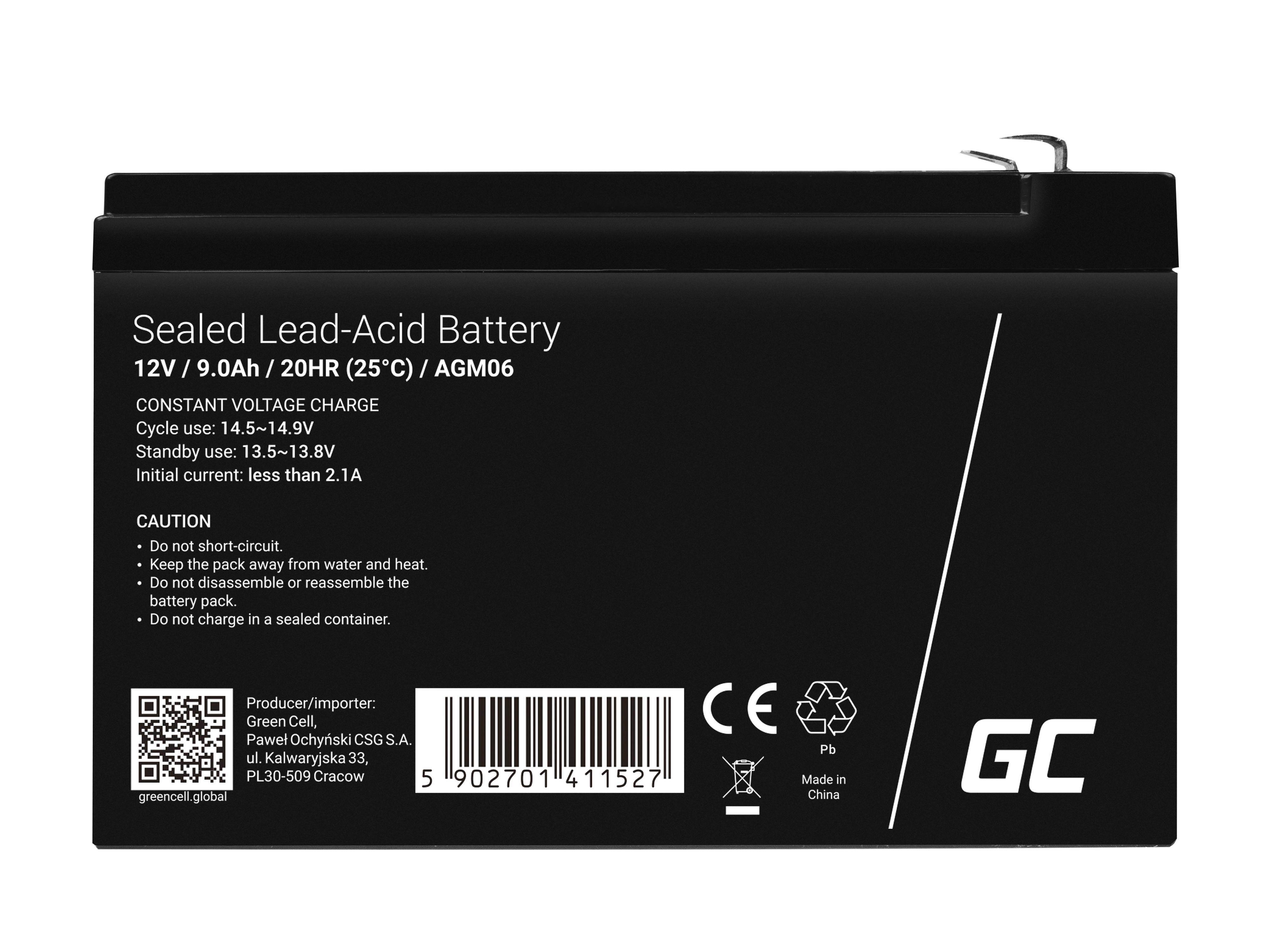 Green Cell AGM Battery 12V 9Ah