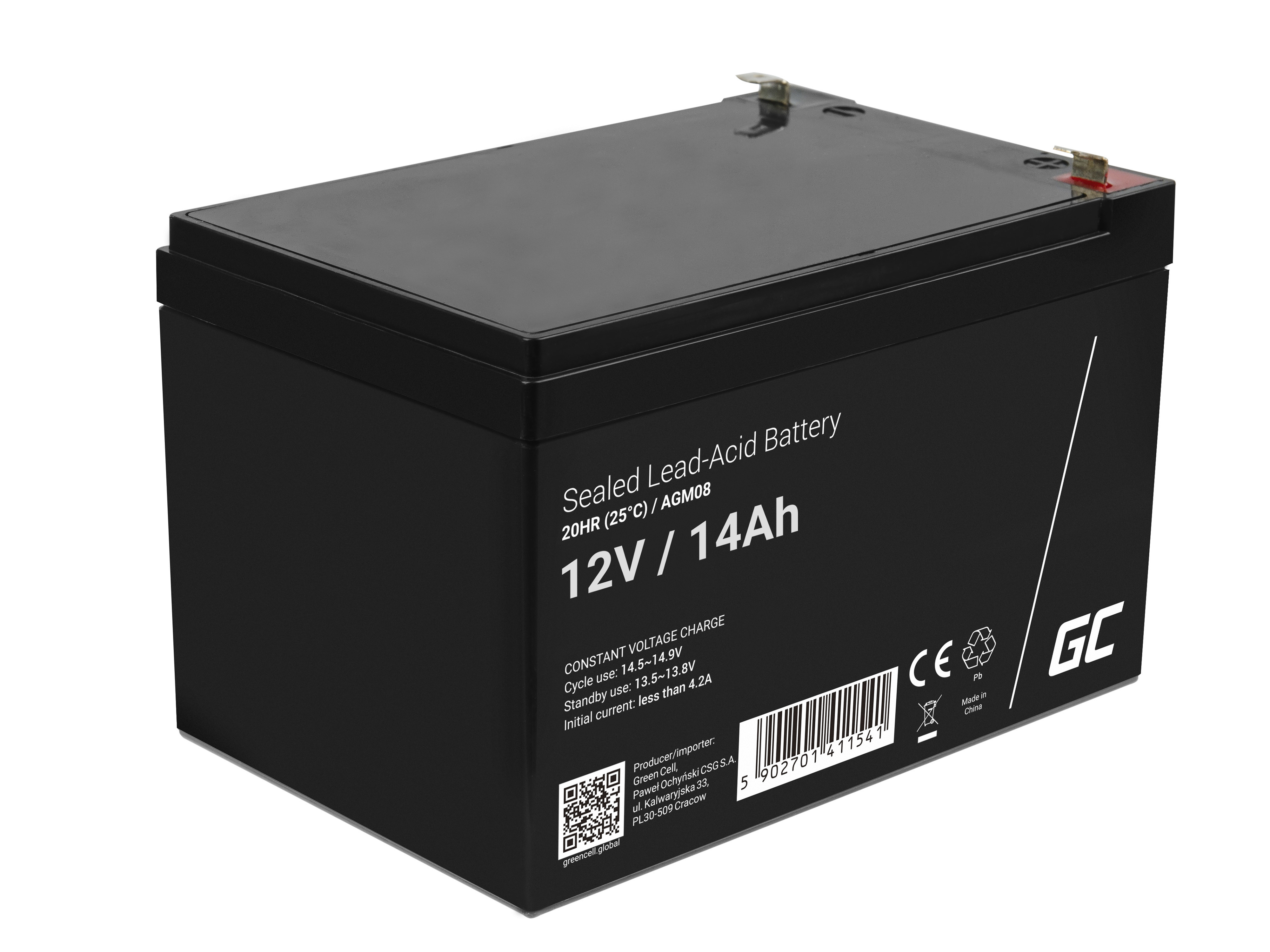 Green Cell Staniční (záložní) Baterie 12V 14Ah
