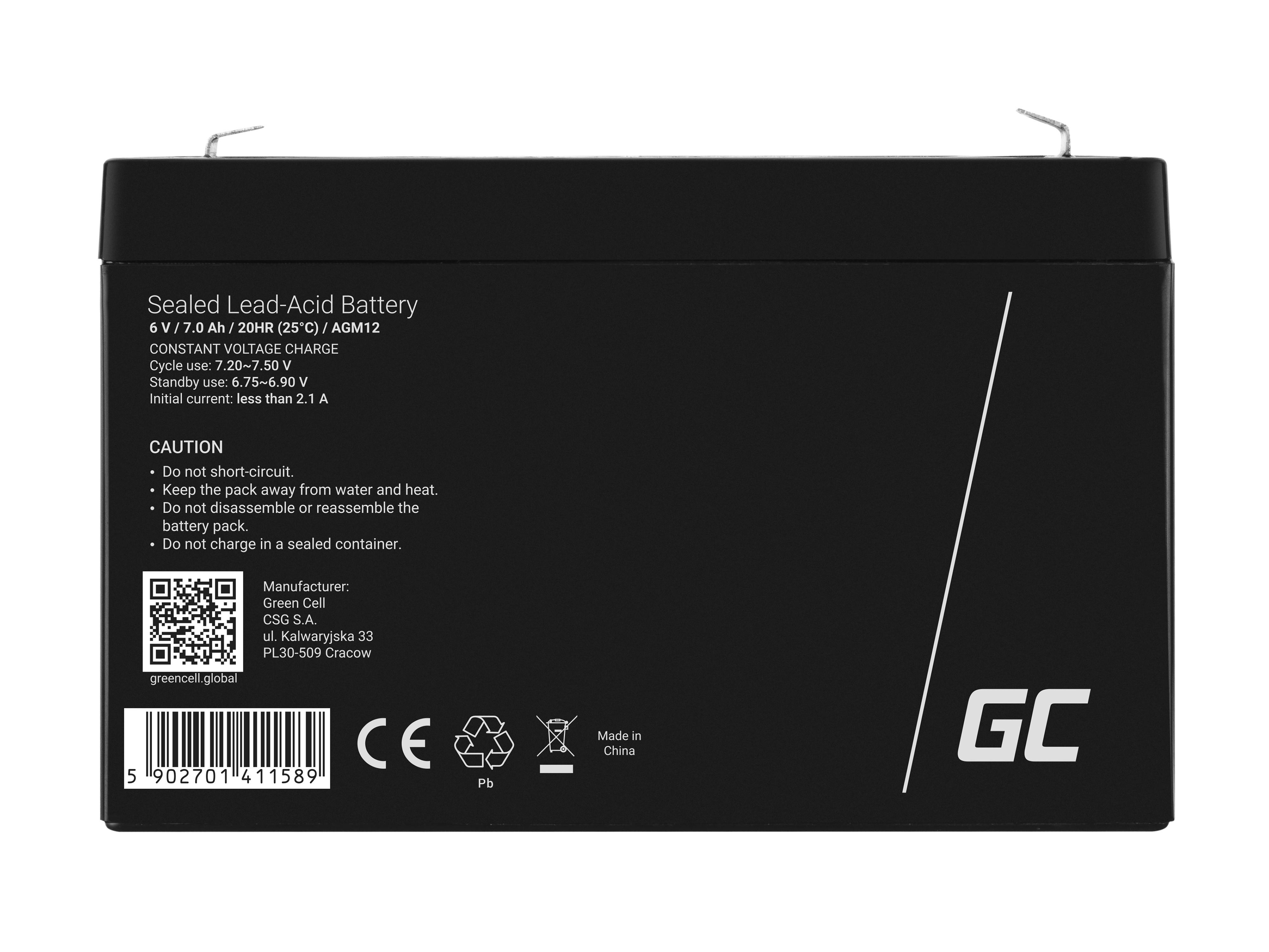 Green Cell AGM Battery 6V 7Ah