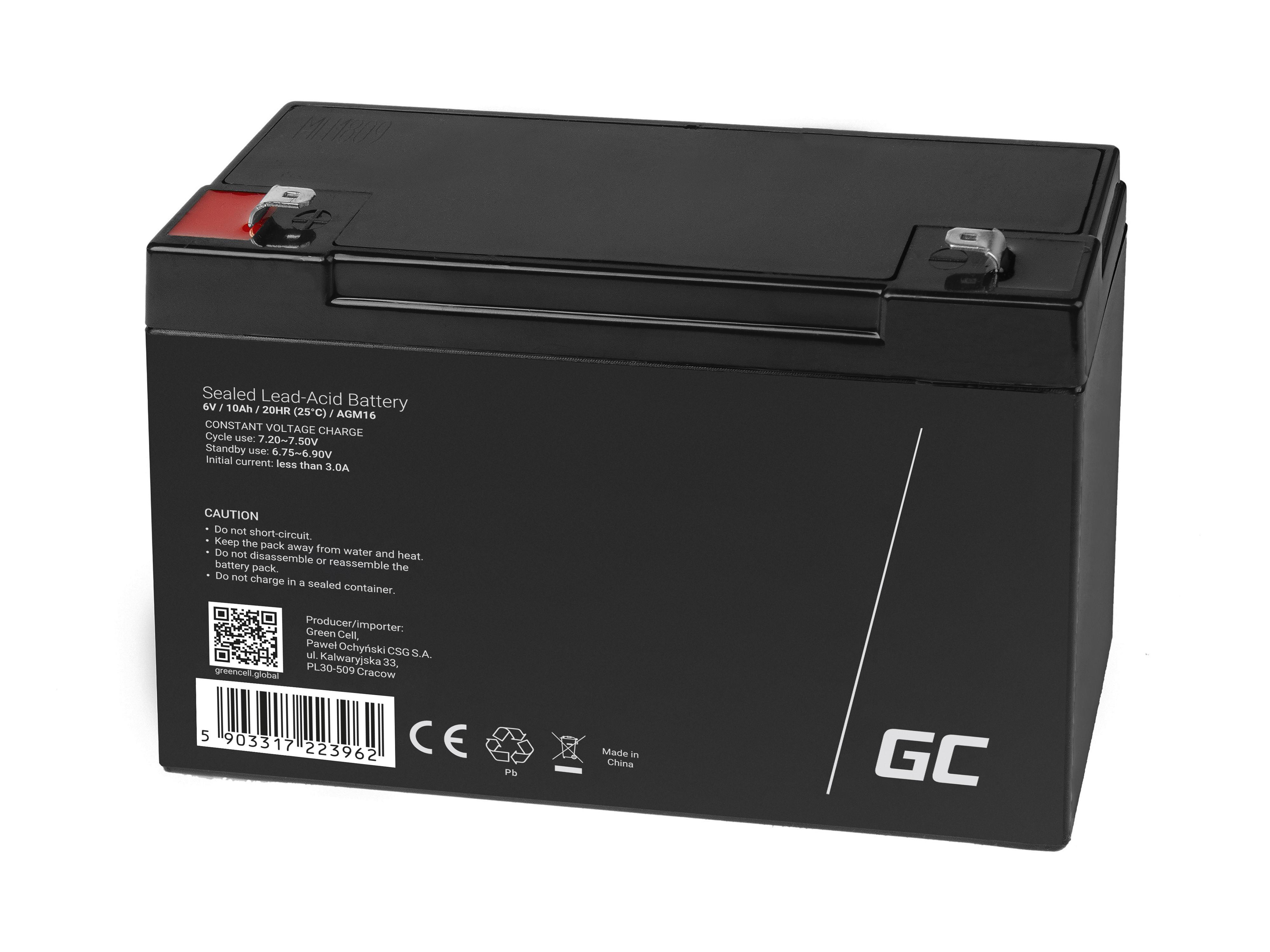 Green Cell AGM Baterie 6V 10Ah