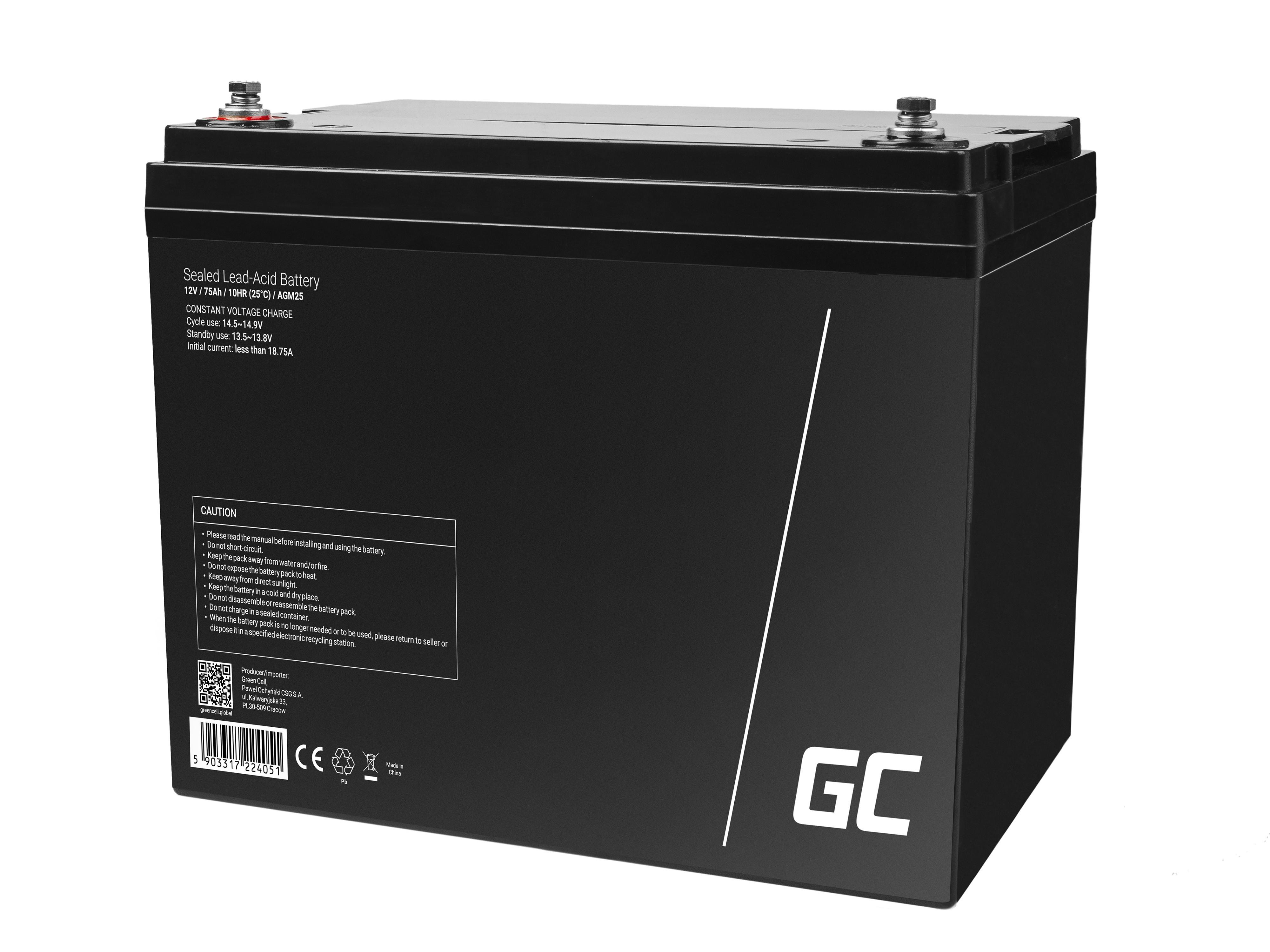 Green Cell Staniční (záložní) Baterie 12V 75Ah