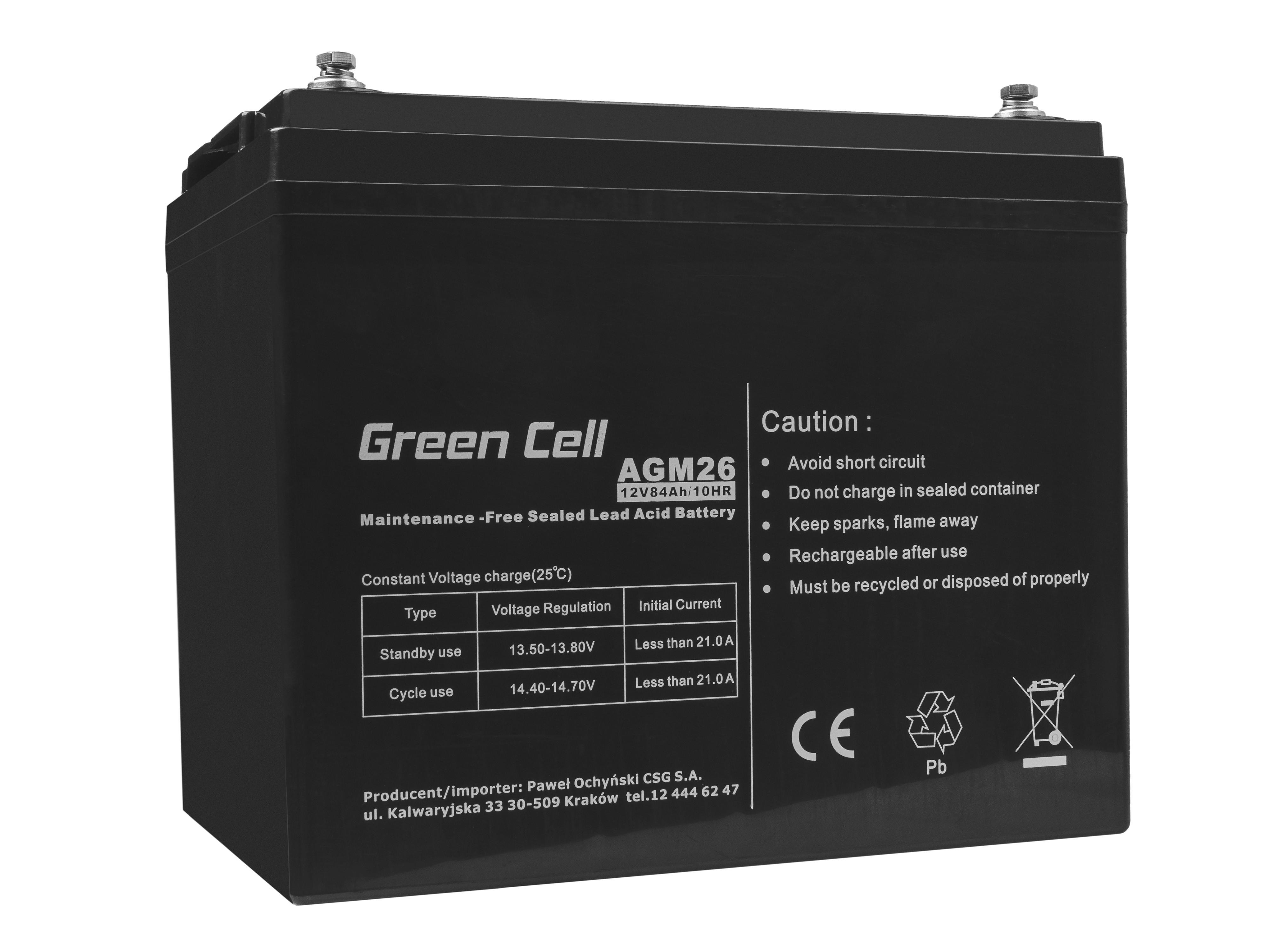 Green Cell AGM Battery 12V 84Ah
