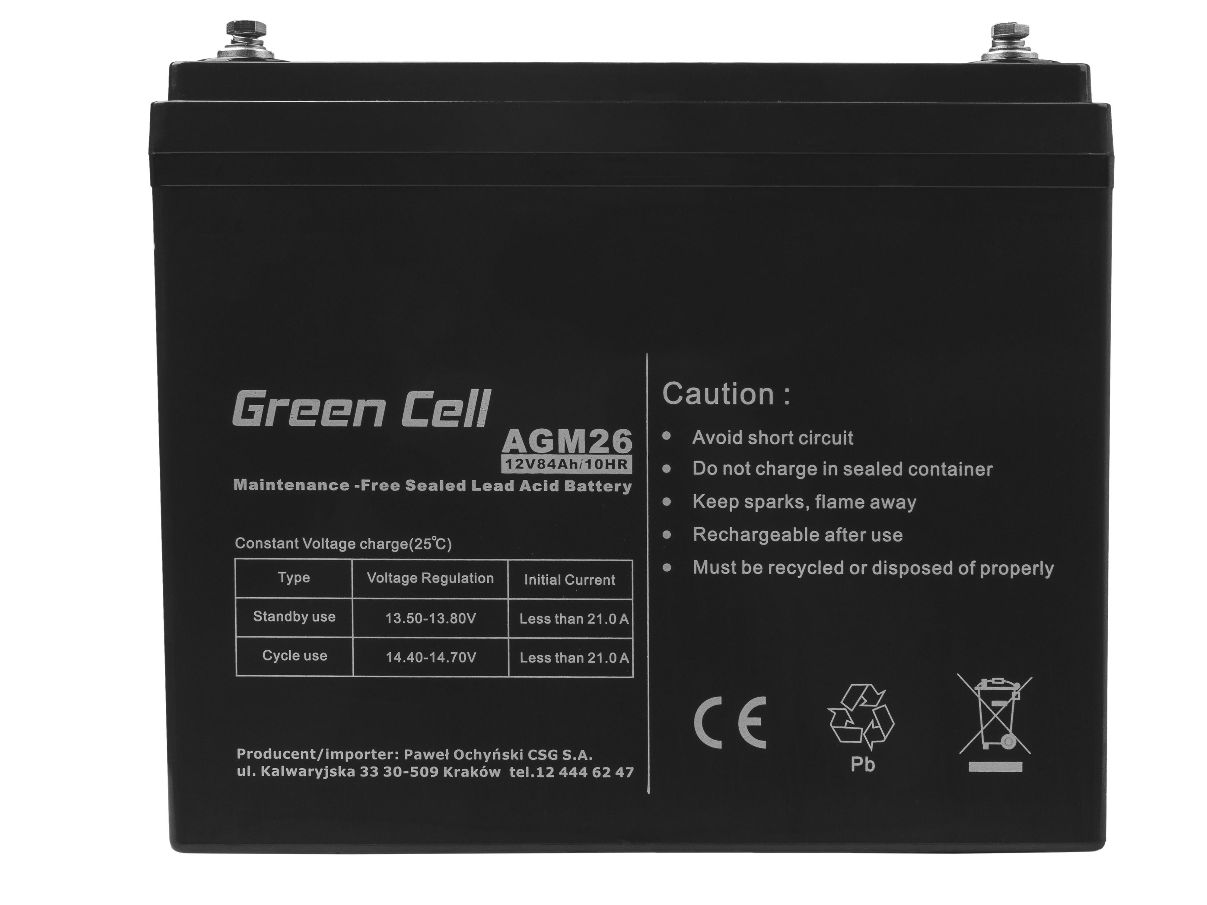 Green Cell Staniční (záložní) Baterie 12V 84Ah