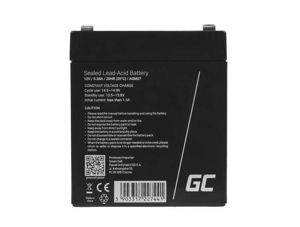 Green Cell AGM Baterie 12V 5Ah