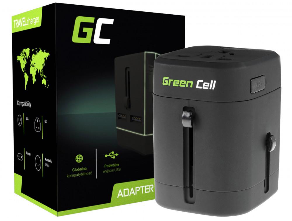 Green Cell Universal Adapter elektromos aljzathoz USB porttal