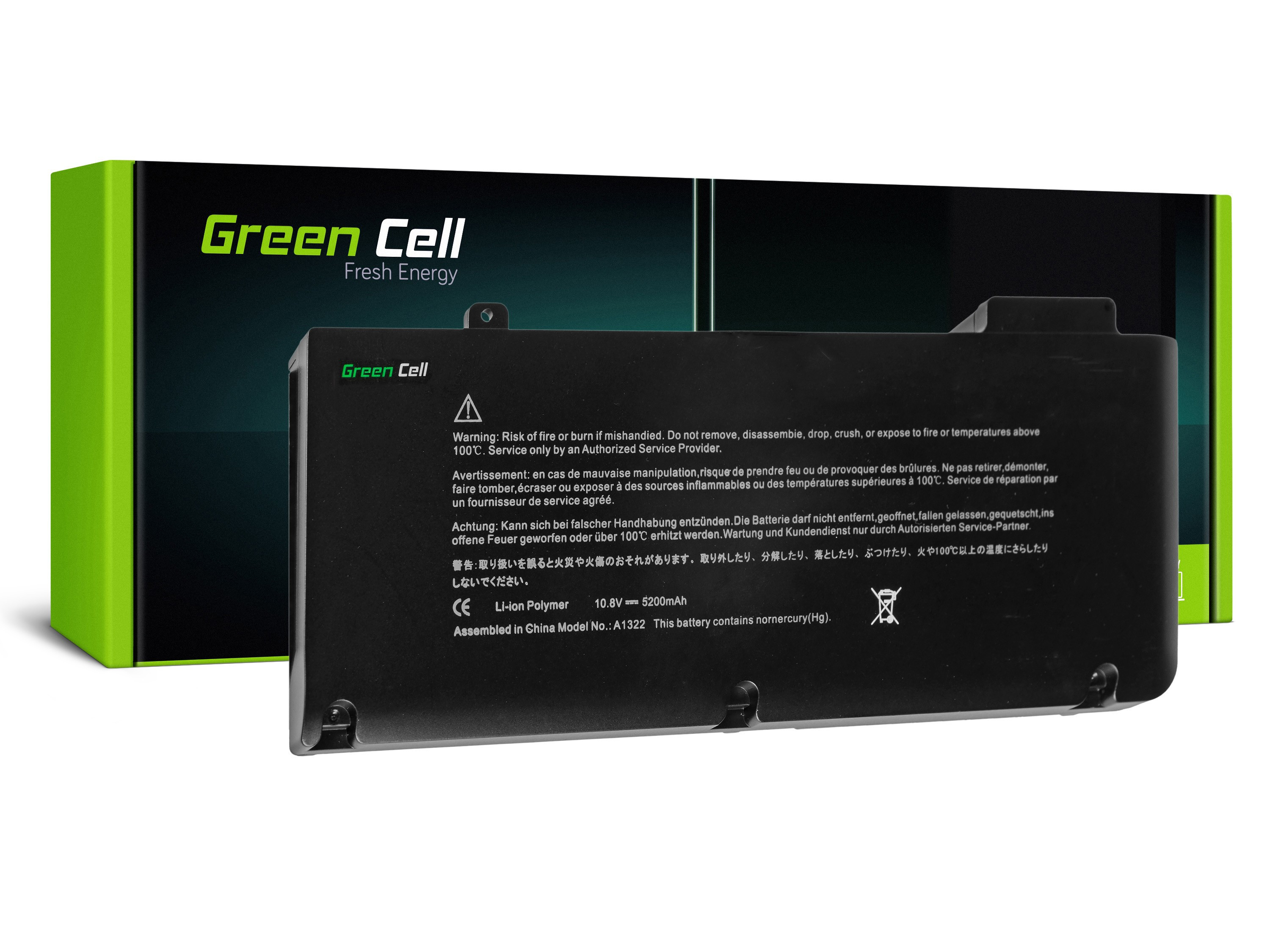 Green Cell Battery for Apple Macbook Pro 13 A1278 (Mid 2009, Mid 2010, Early 2011, Late 2011, Mid 2012) / 11,1V 4400mAh