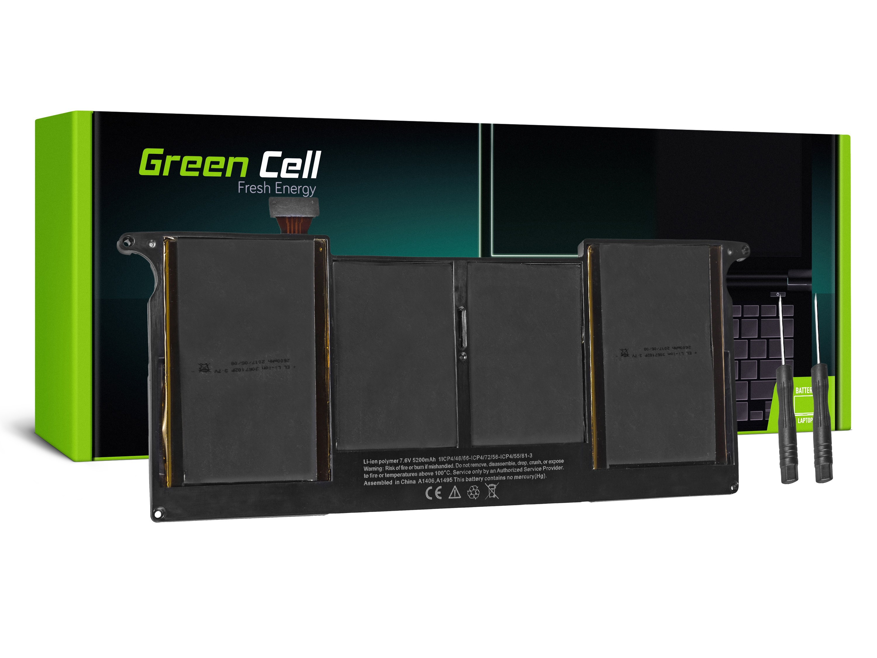 Green Cell Battery for Apple Macbook Air 11 A1370 A1465 (Mid 2011 - 2013, Early 2014 – 2015) / 7,6V 5000mAh