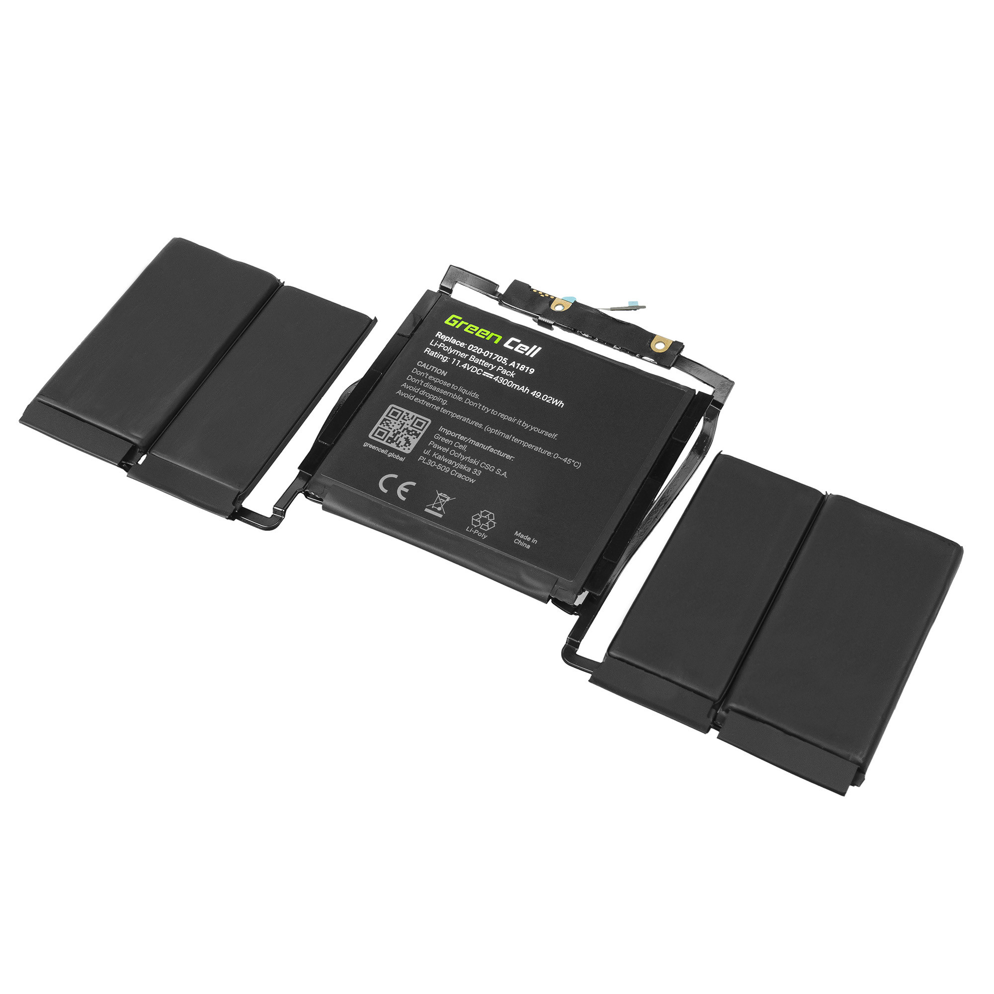Green Cell Baterie pro Apple MacBook Pro 13 A1706 Touch Bar (Late 2016, Mid 2017) / 11,4V 4300mAh