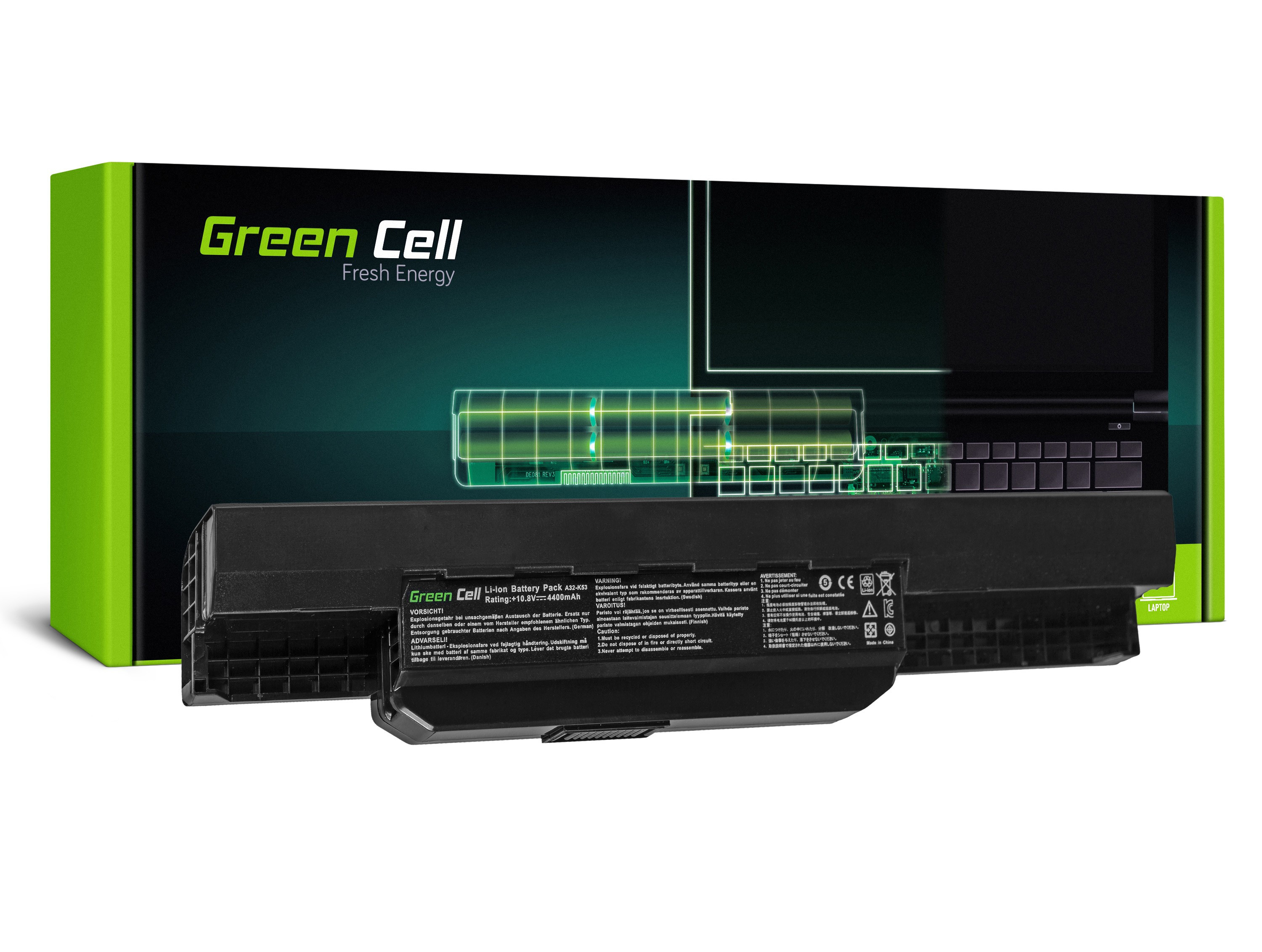 Green Cell AS04 Baterie Asus K53/K53E/K53S/K53SV/X53/X53S/X53U/X54/X54C/X54H 4400mAh Li-ion - neoriginální