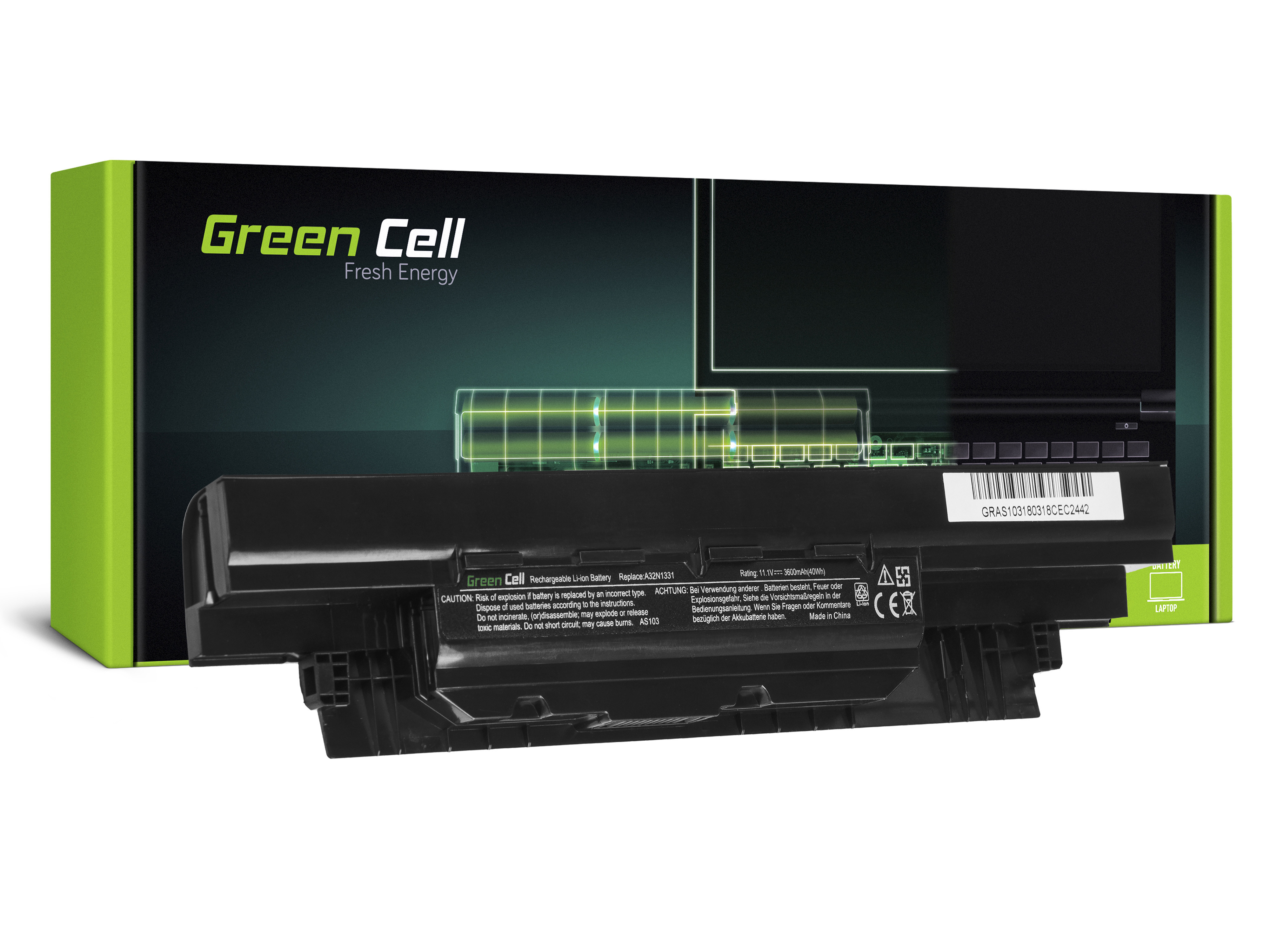 Green Cell Battery for AsusPRO PU551  A32N1331 / 11,1V 3600mAh