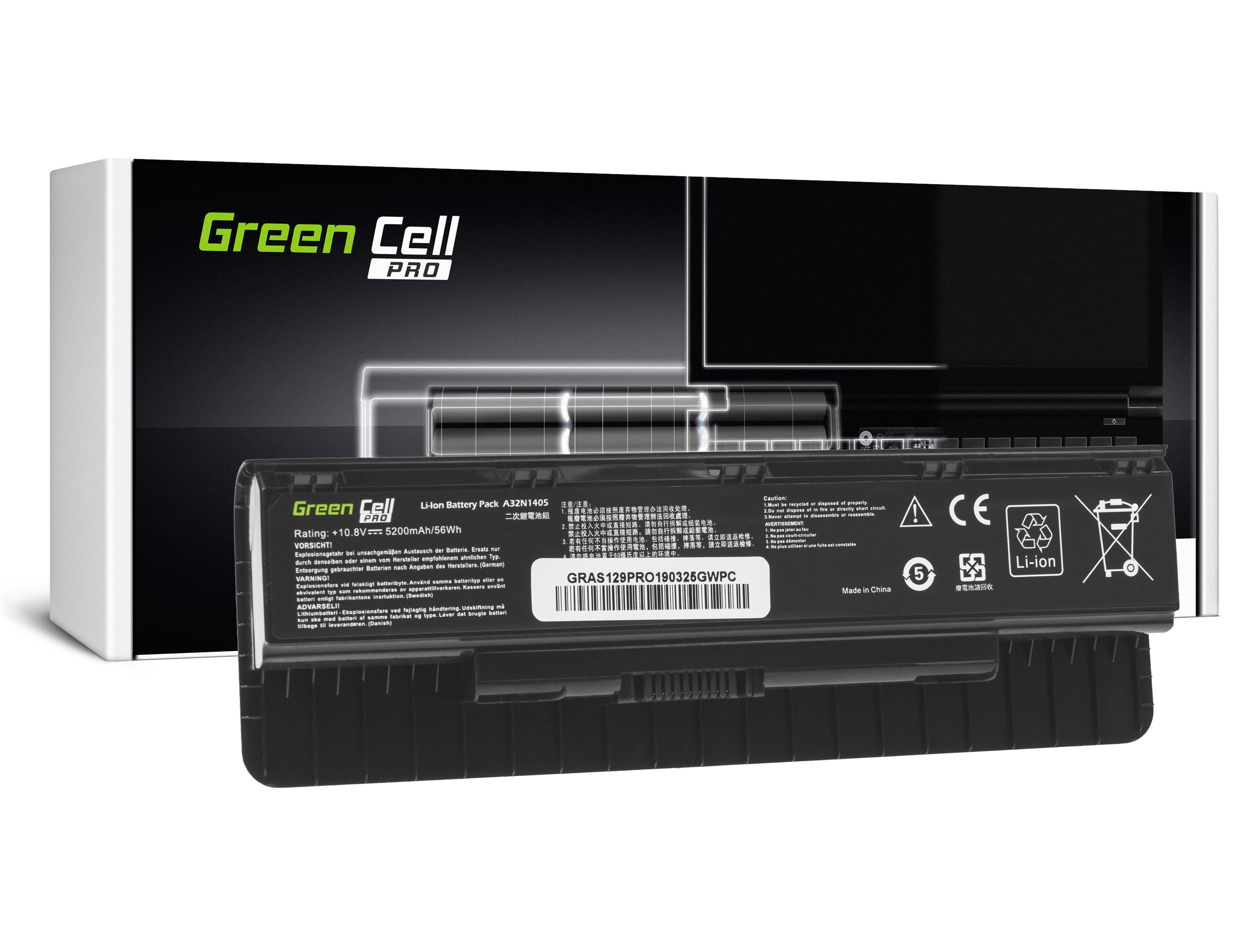 Green Cell AS129PRO Baterie Asus A32N1405, Asus G551 G551J G551JM G551JW G771 G771J G771JM G771JW N551 N551J N551JM N551JW N551JX 5200mAh Li-ion - neoriginální