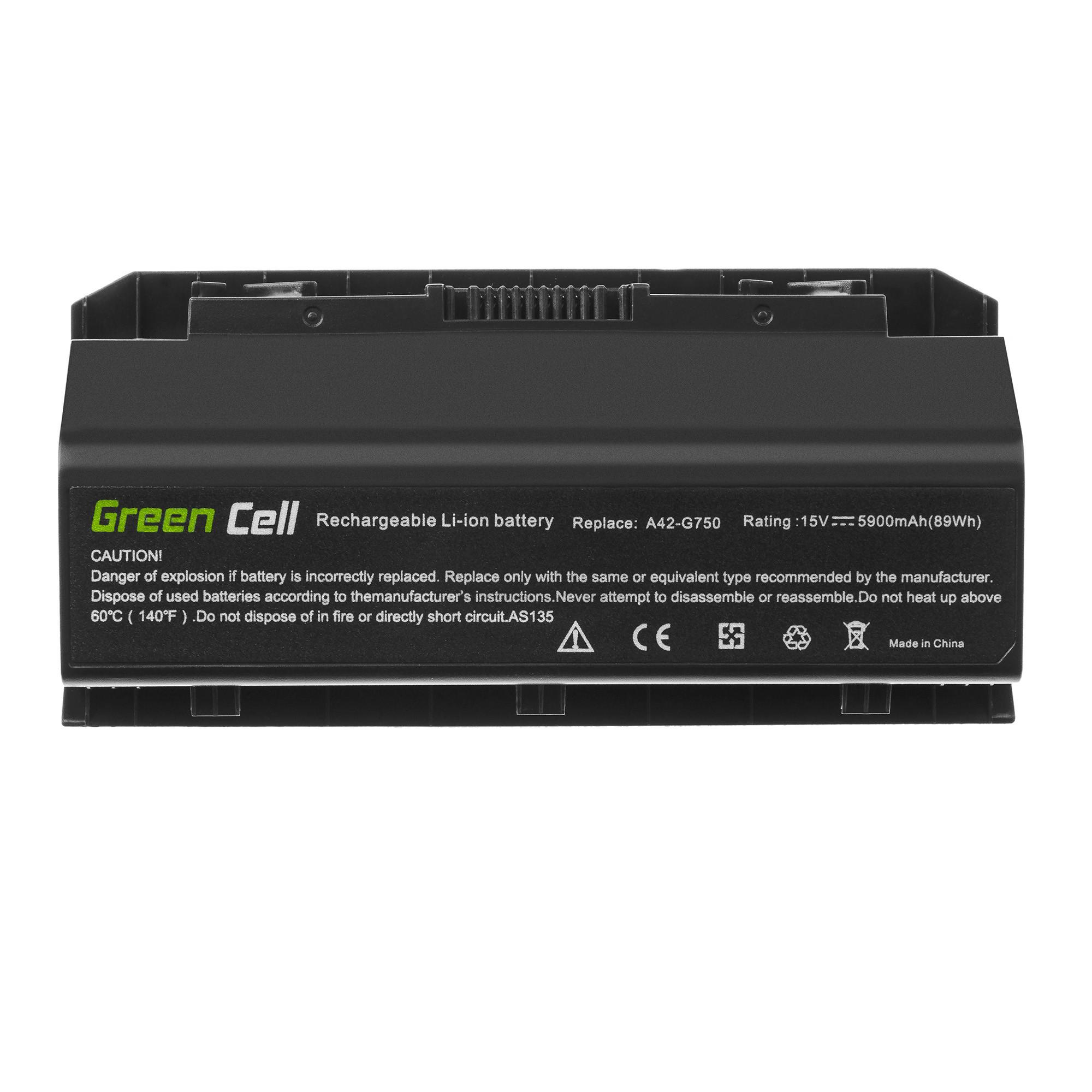 Green Cell A42-G750 Baterie pro Asus G750 G750J G750JH G750JM G750JS G750JW G750JX G750JZ / 15V 5900mAh