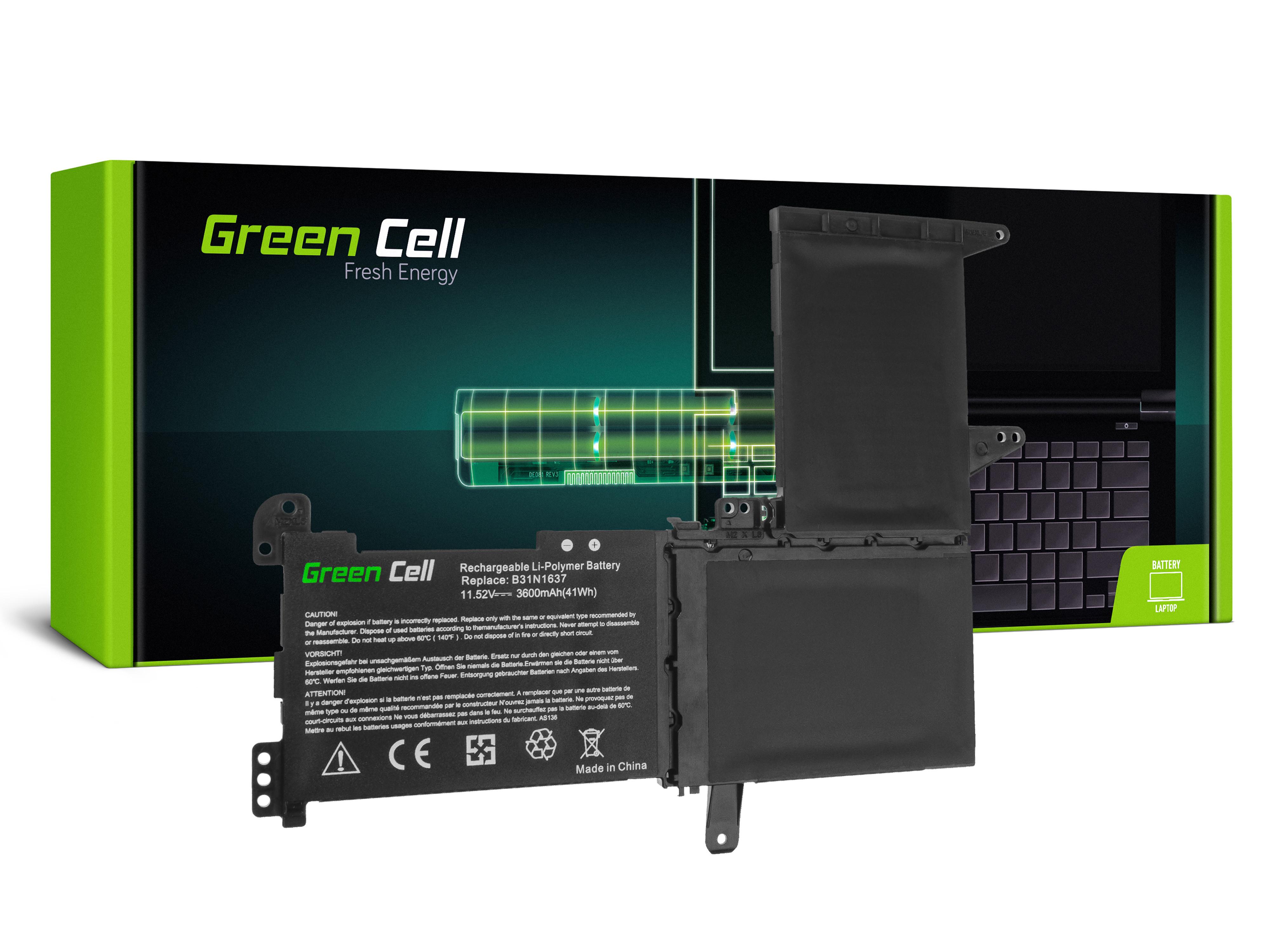 Green Cell B31N1637 C31N1637 Baterie pro Asus VivoBook S15 S510 S510U S510UA S510UN S510UQ 15 F510 F510U F510UA / 11,52V 3600mAh