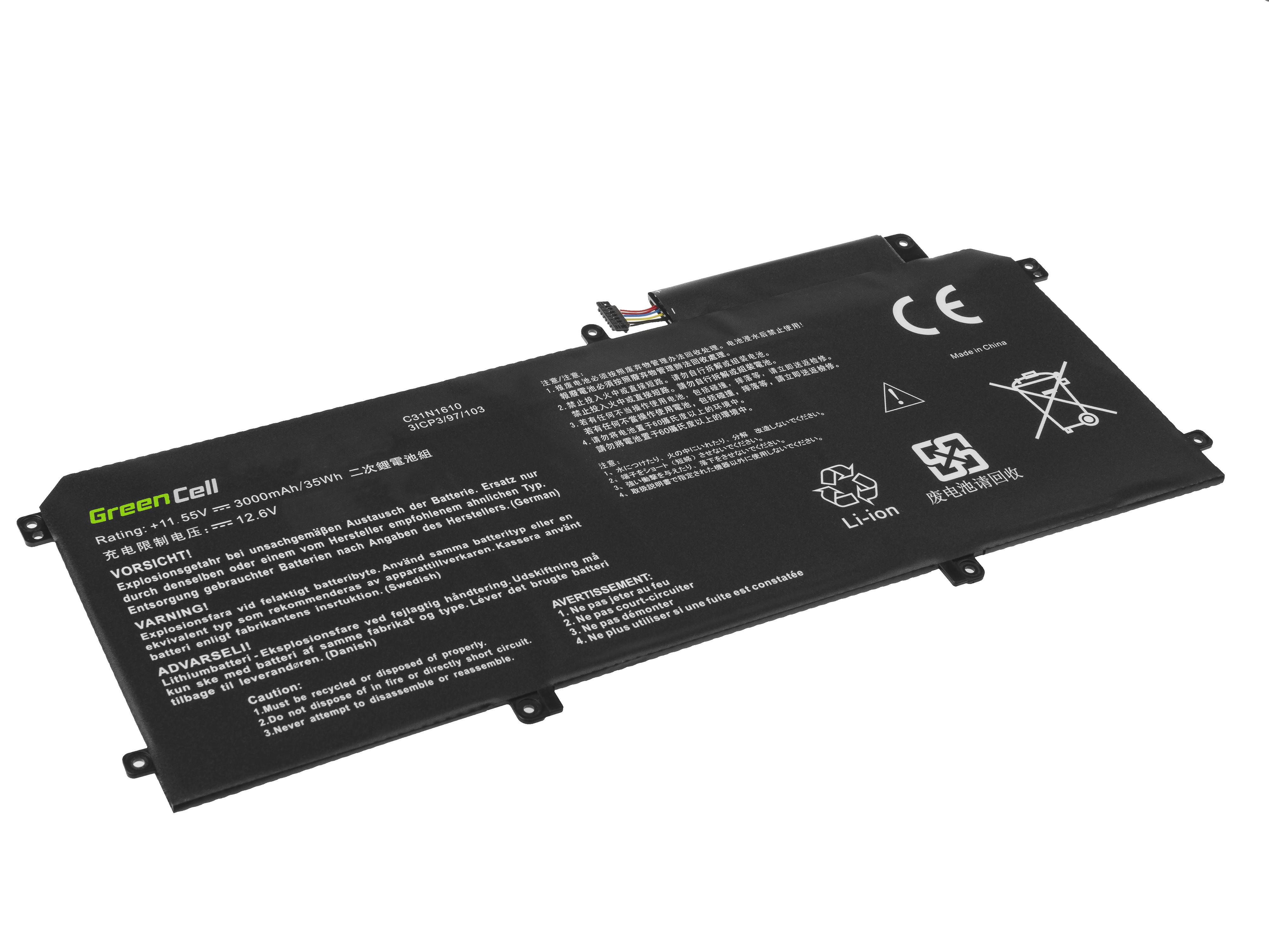 Green Cell AS139 Baterie Asus C31N1610 pro Asus ZenBook UX330C UX330CA 3000mAh Li-Pol – neoriginální