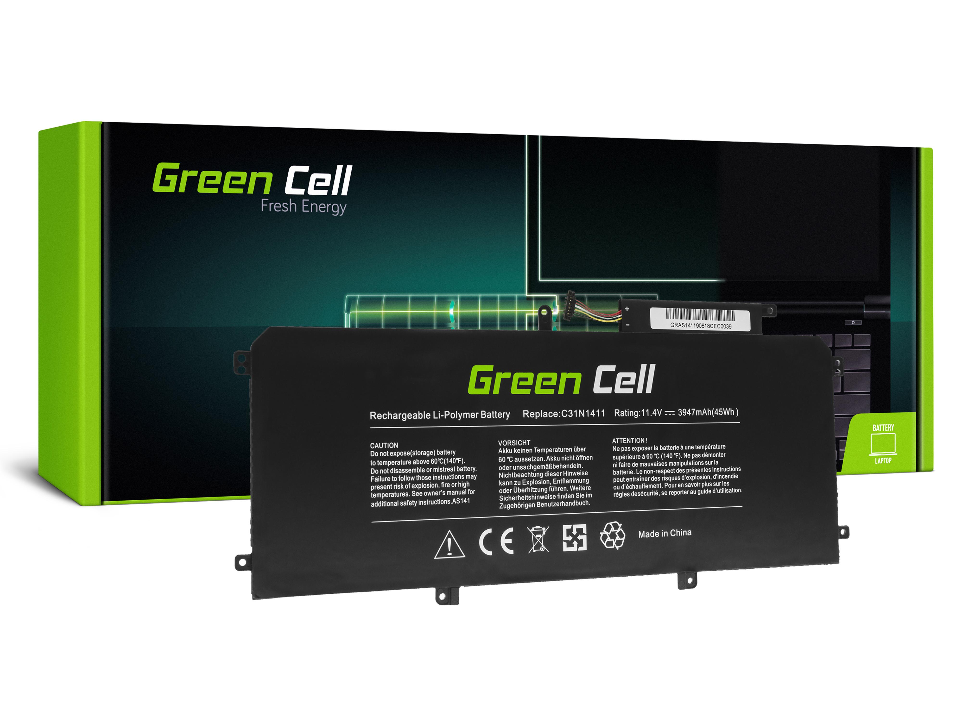 Green Cell AS141 Baterie Asus C31N1411, Asus ZenBook UX305C UX305CA UX305F UX305FA 3947mAh Li-Pol – neoriginální