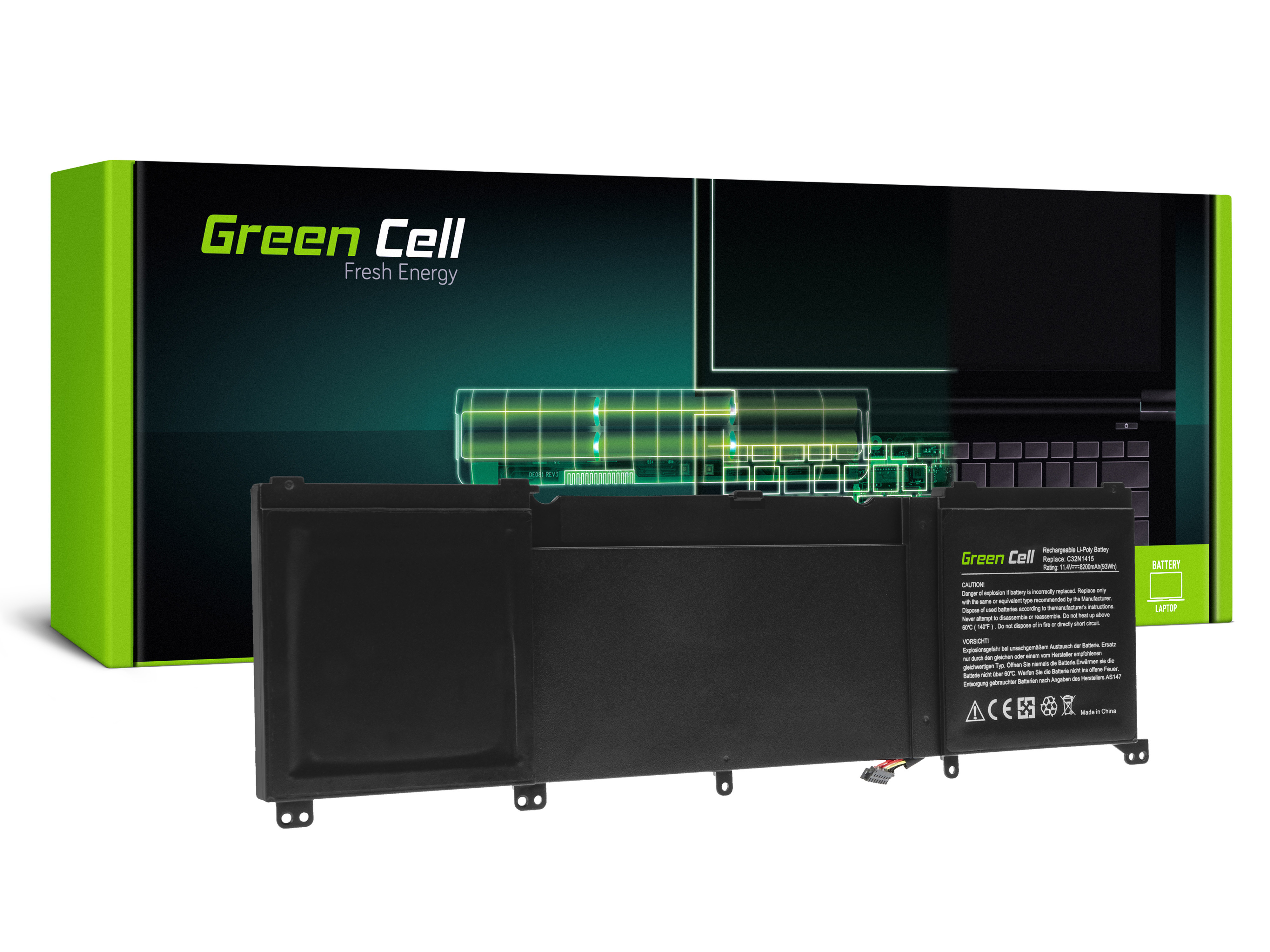 Green Cell AS147 Baterie Asus C32N1415,Asus ZenBook Pro UX501J UX501JW 8200mAh Li-Pol – neoriginální