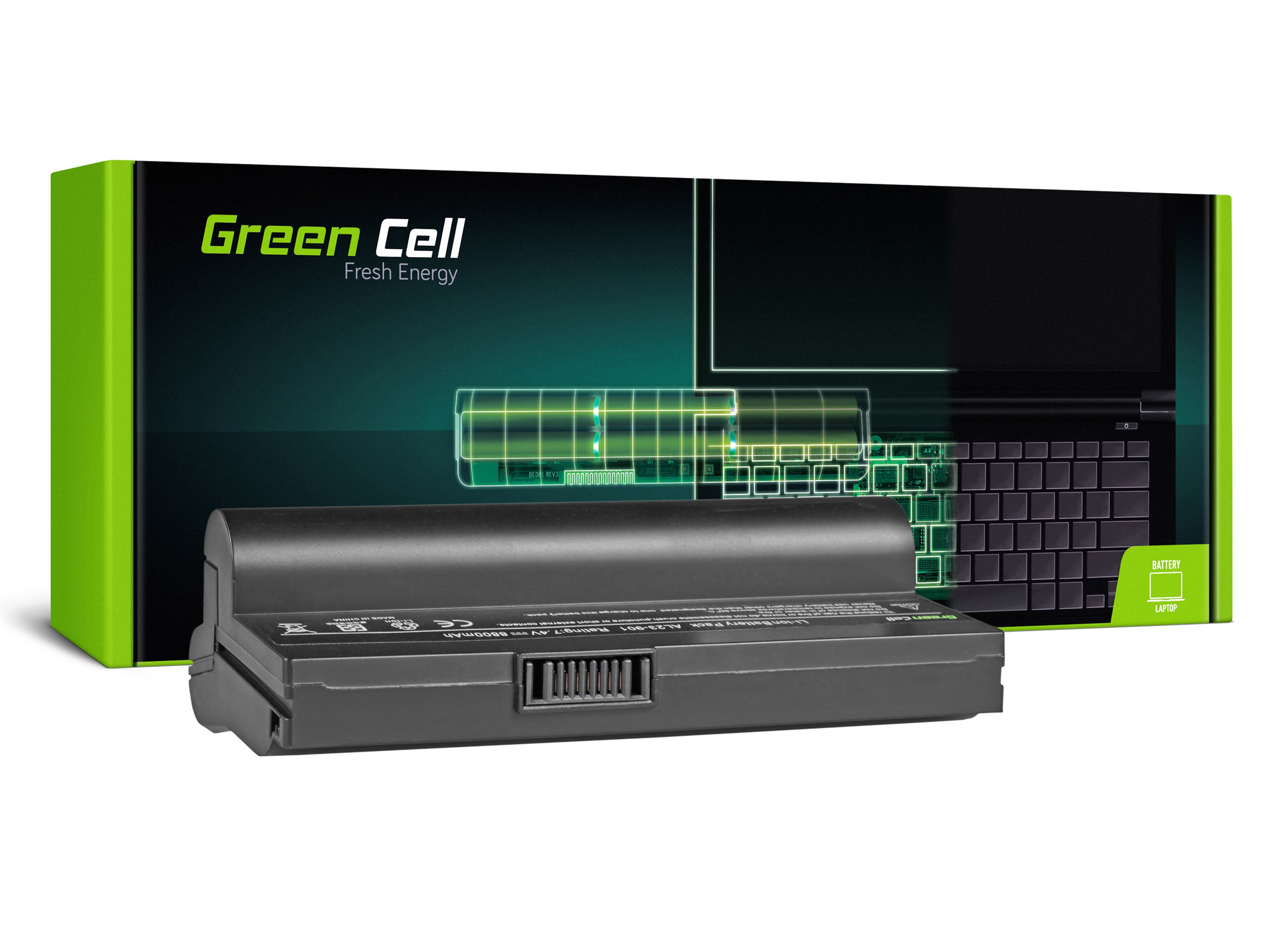 Green Cell Battery for Asus Eee-PC 901 904 1000 1000H (black) / 7,4V 8800mAh