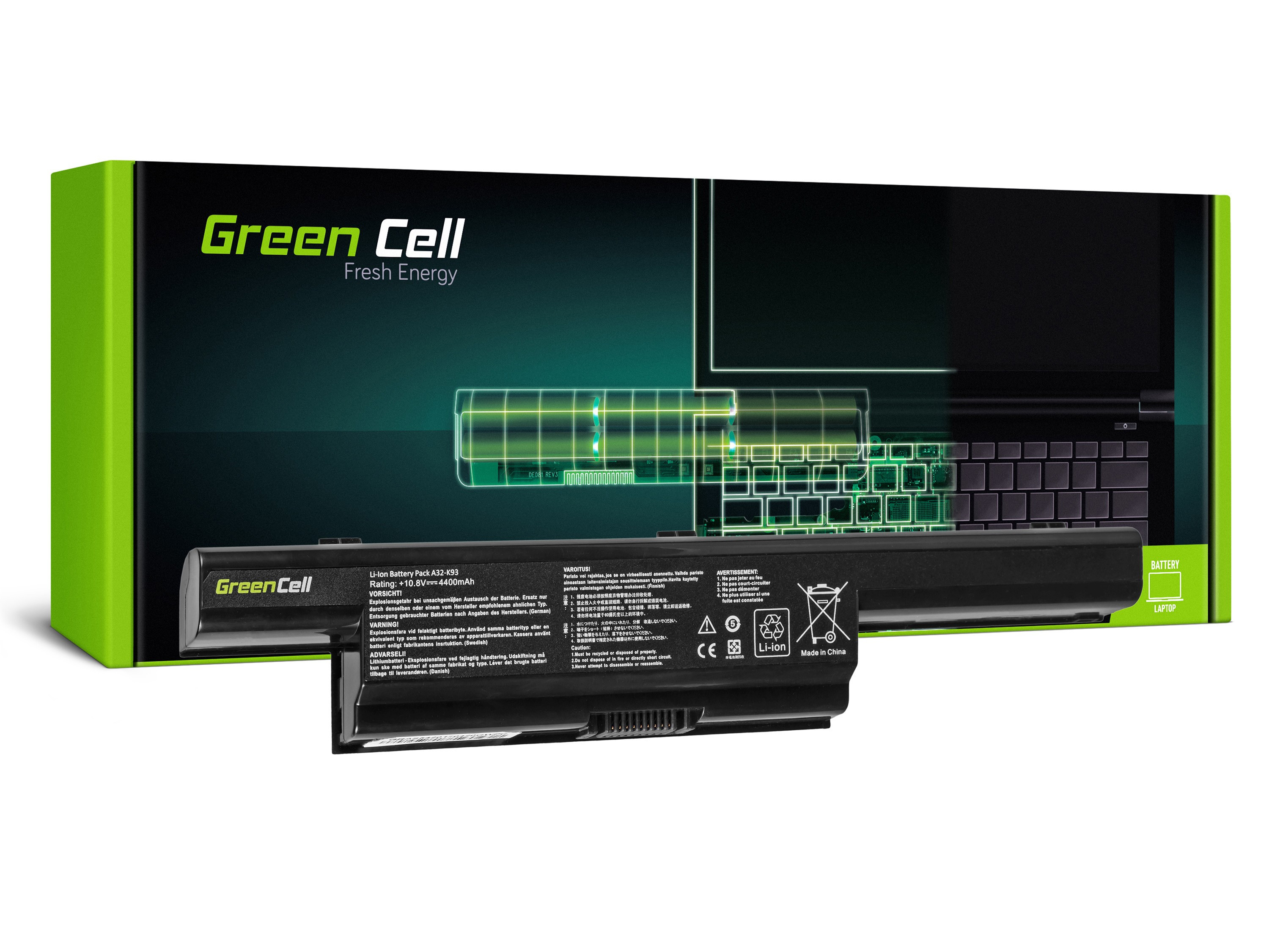 Green Cell PRO Battery for Asus A93 A95 K93 X93 / 11,1V 4400mAh