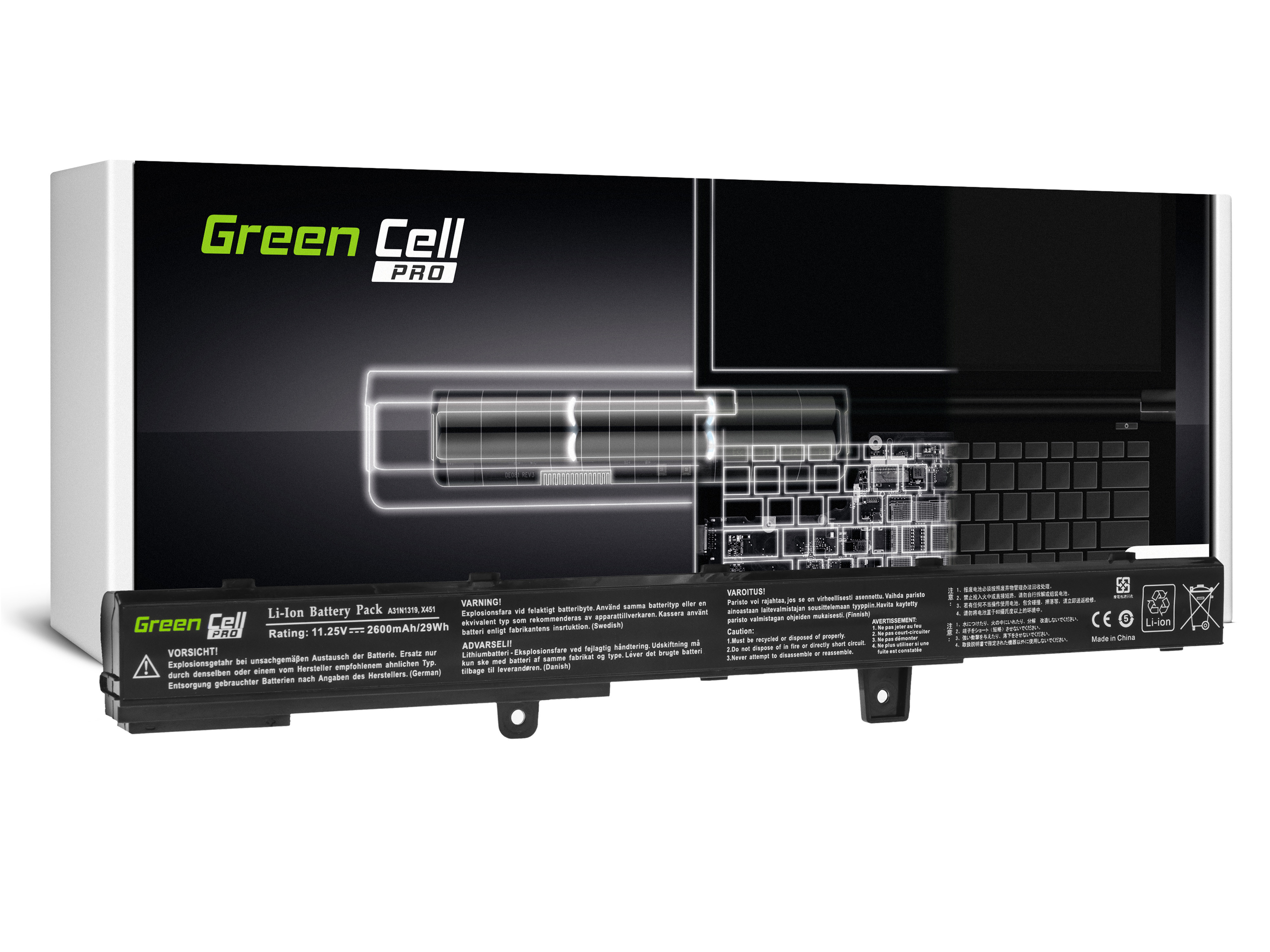 Green Cell AS90PRO Baterie Asus A31N1319,Asus X551 X551C X551CA X551M X551MA X551MAV F551 F551C F551M R512C R512CA R553L 2600mAh Li-ion - neoriginální