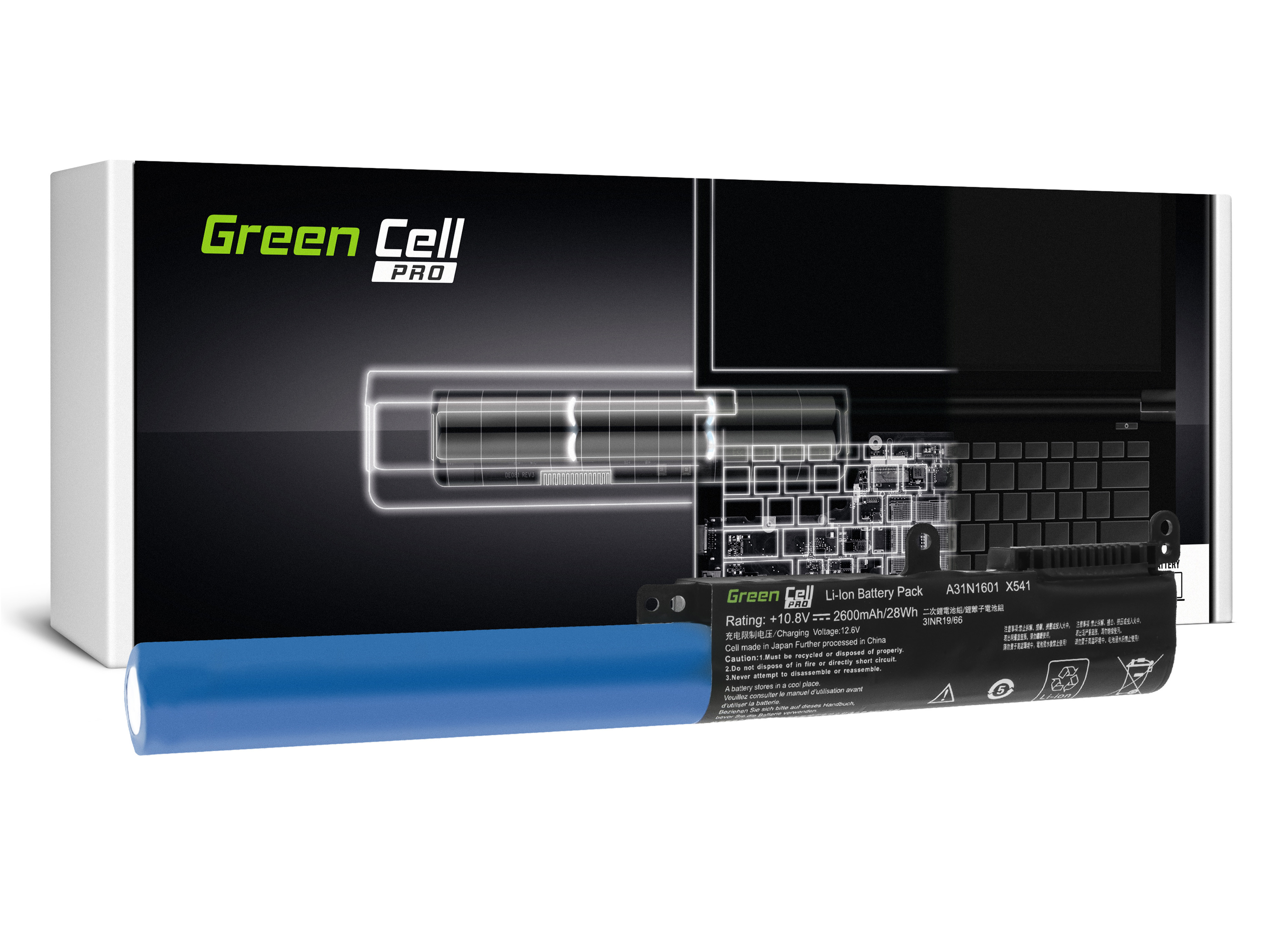 Green Cell AS94PRO Baterie Asus A31N1601 A31LP4Q, Asus R541N R541S R541U Asus Vivobook Max F541N F541U X541N X541S X541U 2600mAh Li-ion - neoriginální