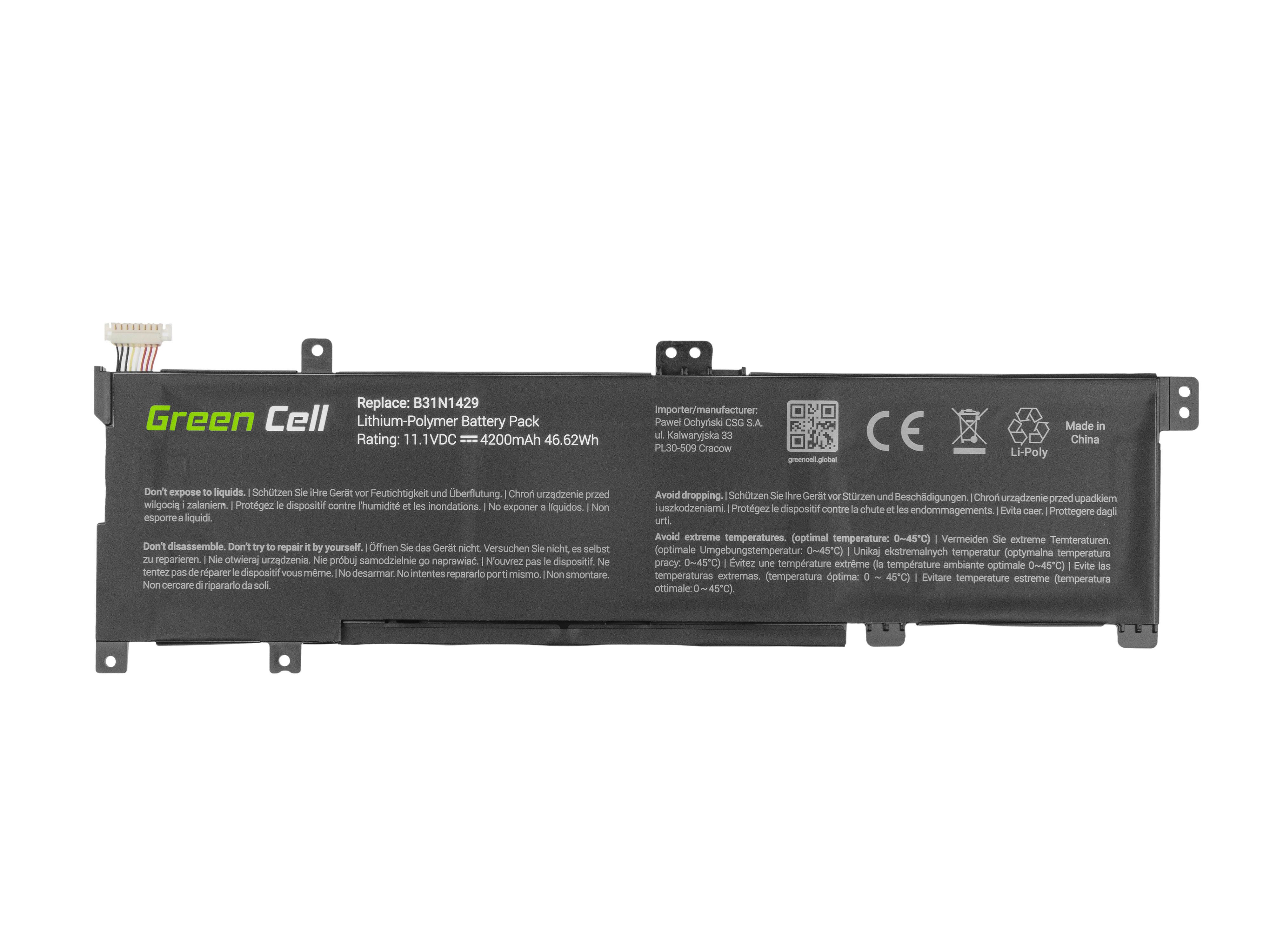Green Cell AS97 Baterie Asus B31N1429/Asus A501L/K501L/K501LX K501U K501UW K501UX 4200mAh Li-Pol – neoriginální