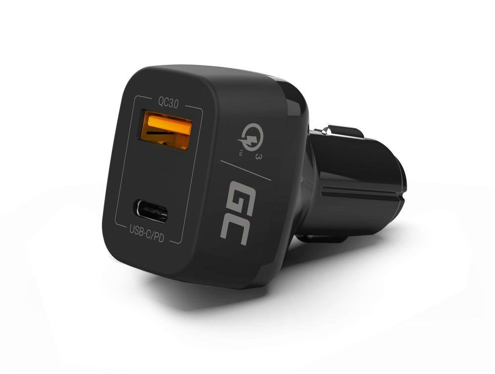 Green Cell szivargyújtó töltő USB-C + USB Quick Charge 3.0