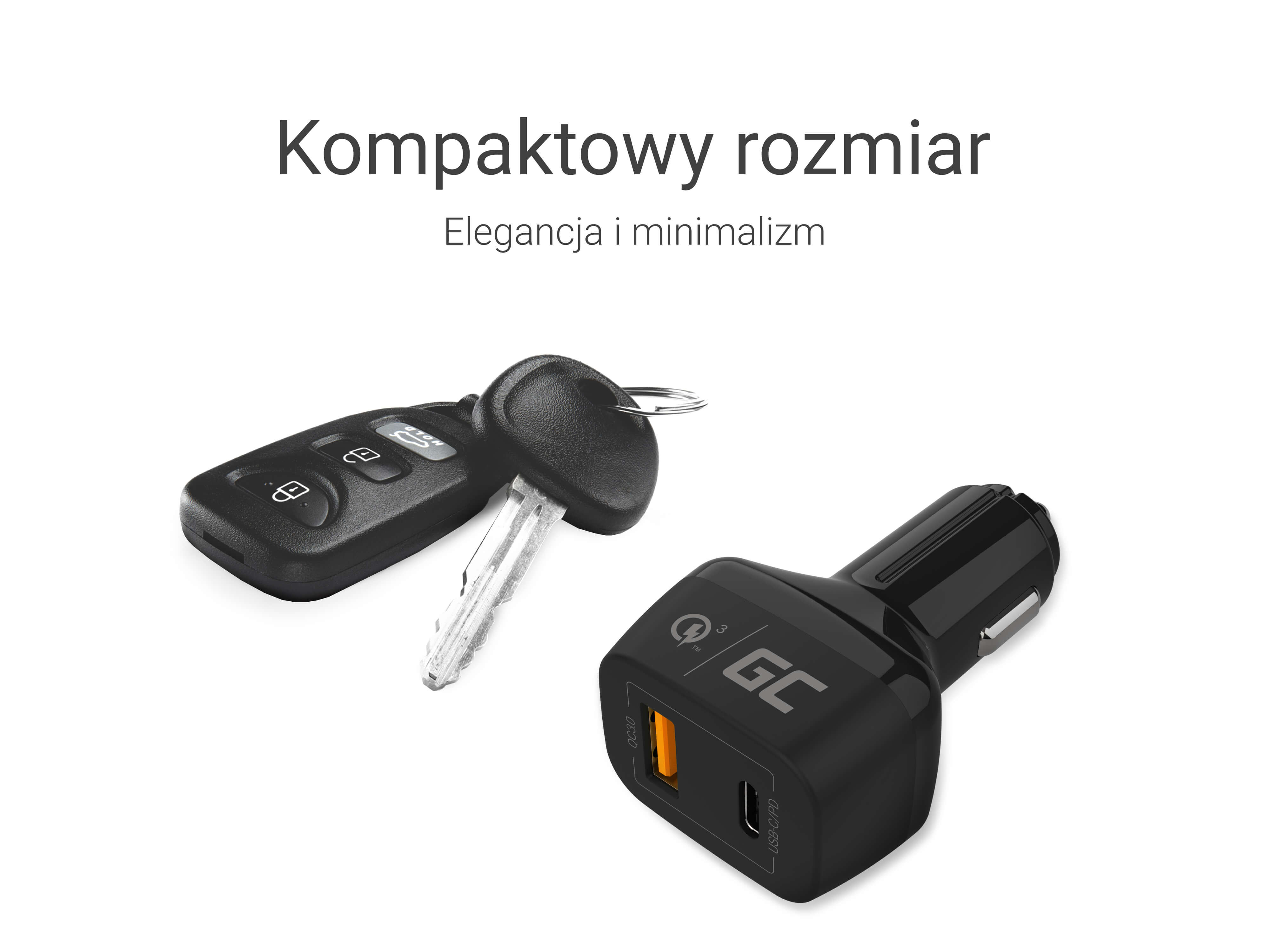 Green Cell In-car Charger USB-C Power Delivery + USB Quick Charge 3.0