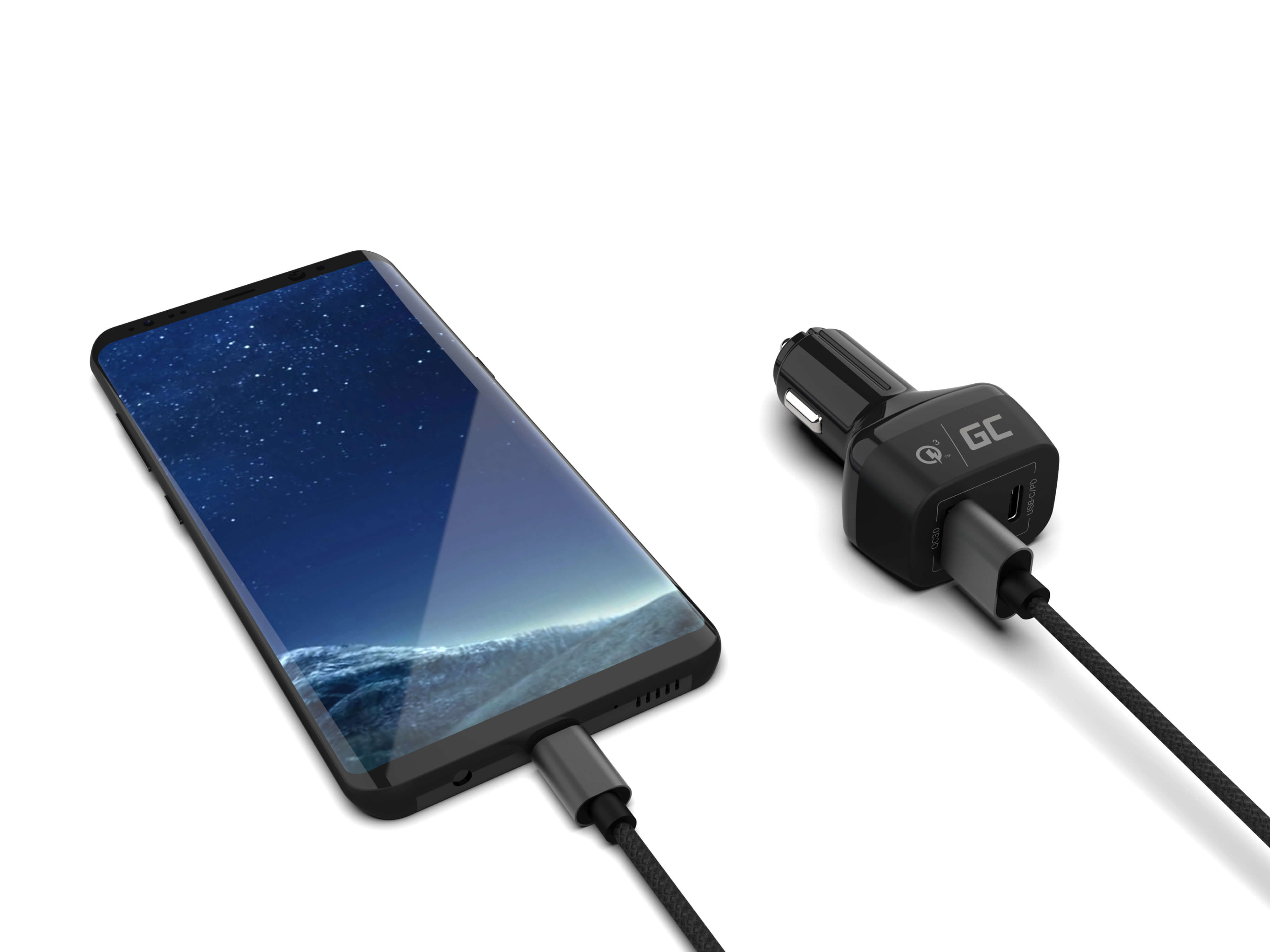 Green Cell Nabíječka do auta USB-C Power Delivery + USB Quick Charge 3.0