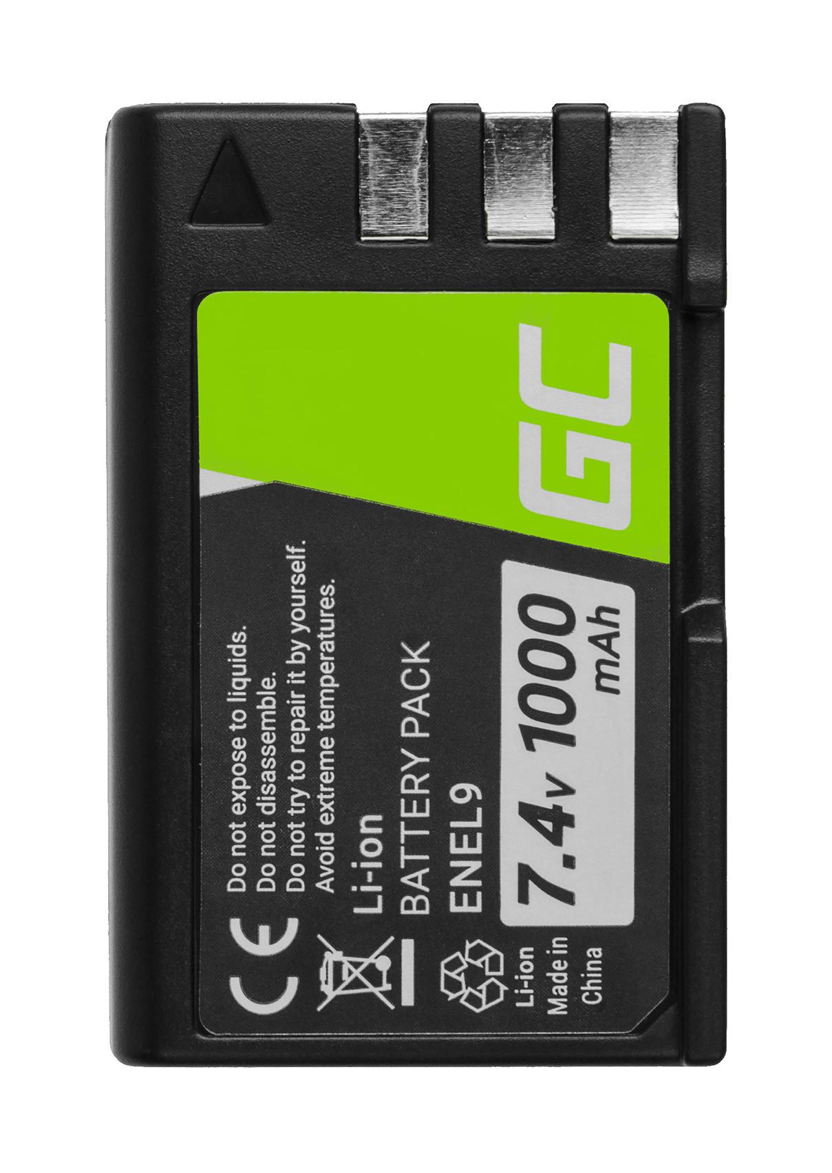 Baterie Green Cell Nikon EN-EL9, EN-EL9A, EN-EL9E pro Nikon D-SLR D40 D60 D3000 D5000 7.4V 1000mAh Li-ion - neoriginální