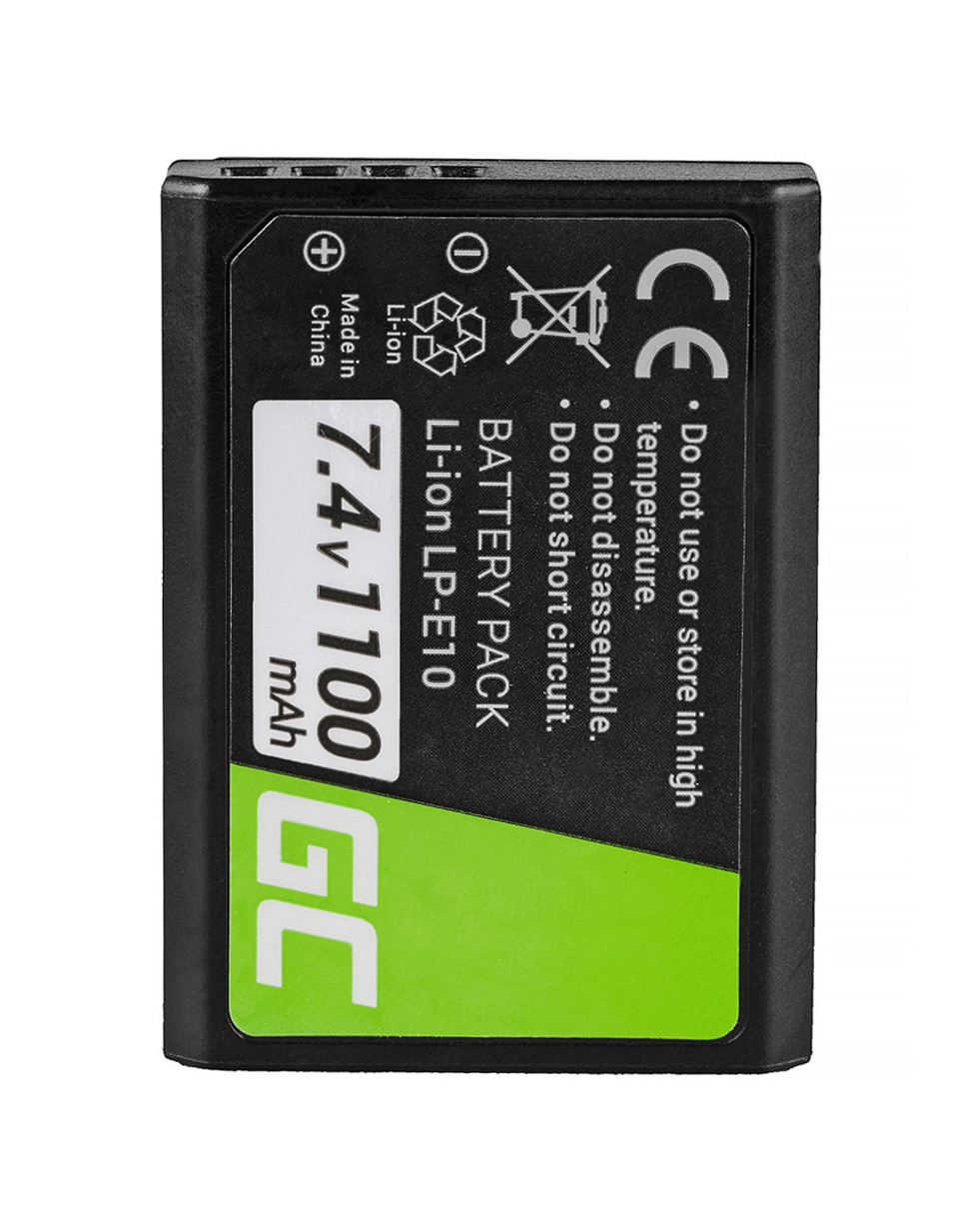 Green Cell Battery LP-E10 Canon EOS Rebel T3, T5, T6, Kiss X50, Kiss X70, EOS 1100D, 1200D, 1300D 7.4V 1100mAh
