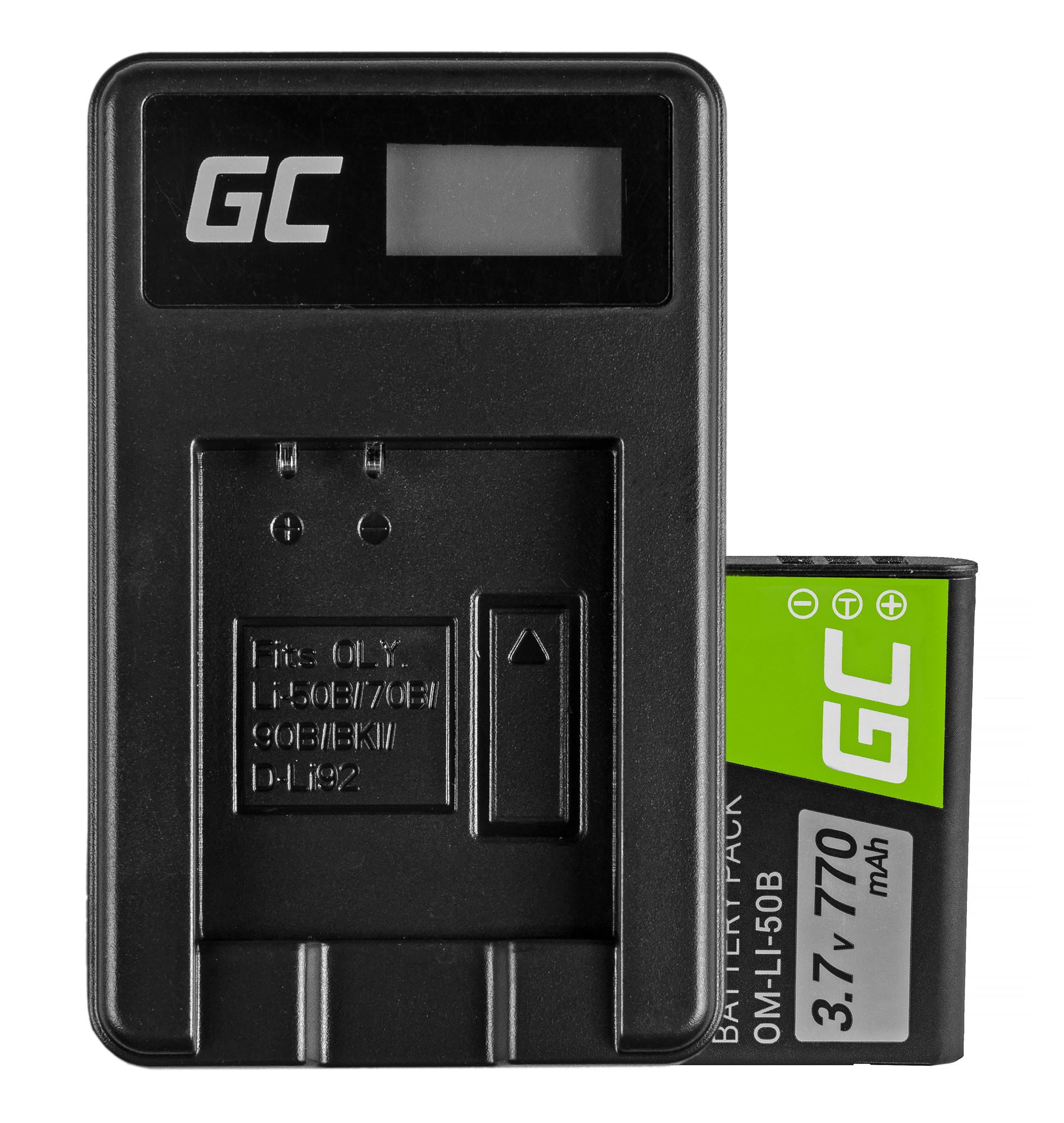 Battery Li-50B and Charger Li-50C Green Cell ® for Olympus SZ-15, SZ-16, Tough 6000, 8000, TG-820, TG-830, TG-850 3.7V 770mAh