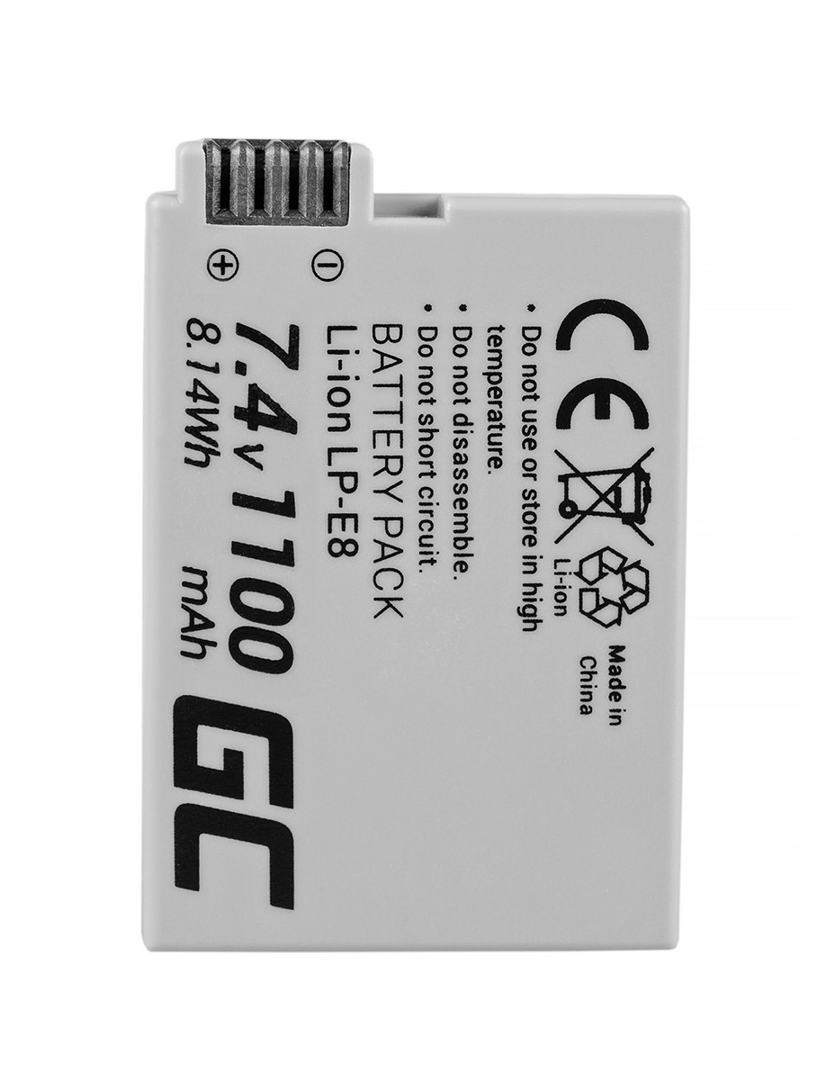 Green Cell Battery LP-E8 ®  Canon EOS Rebel T2i, T3i, T4i, T5i, EOS 600D, 550D, 650D, 700D, Kiss X5, X4, X6 7.4V 1100mAh