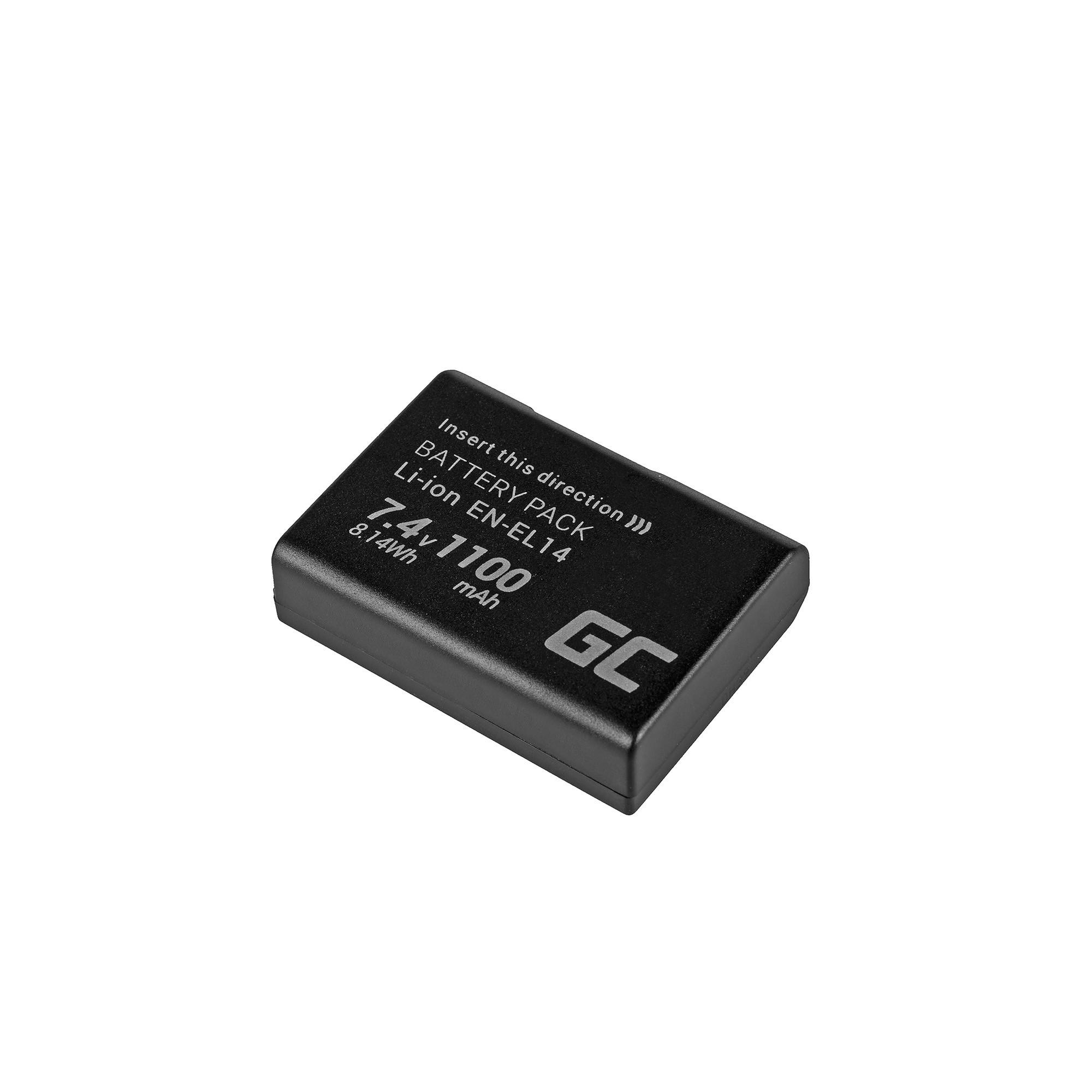 Green Cell EN-EL14 Baterie pro Nikon D3200, D3300, D5100, D5200, D5300, D5500, Coolpix P7000, P7700, P7800 7.4V 1100mAh