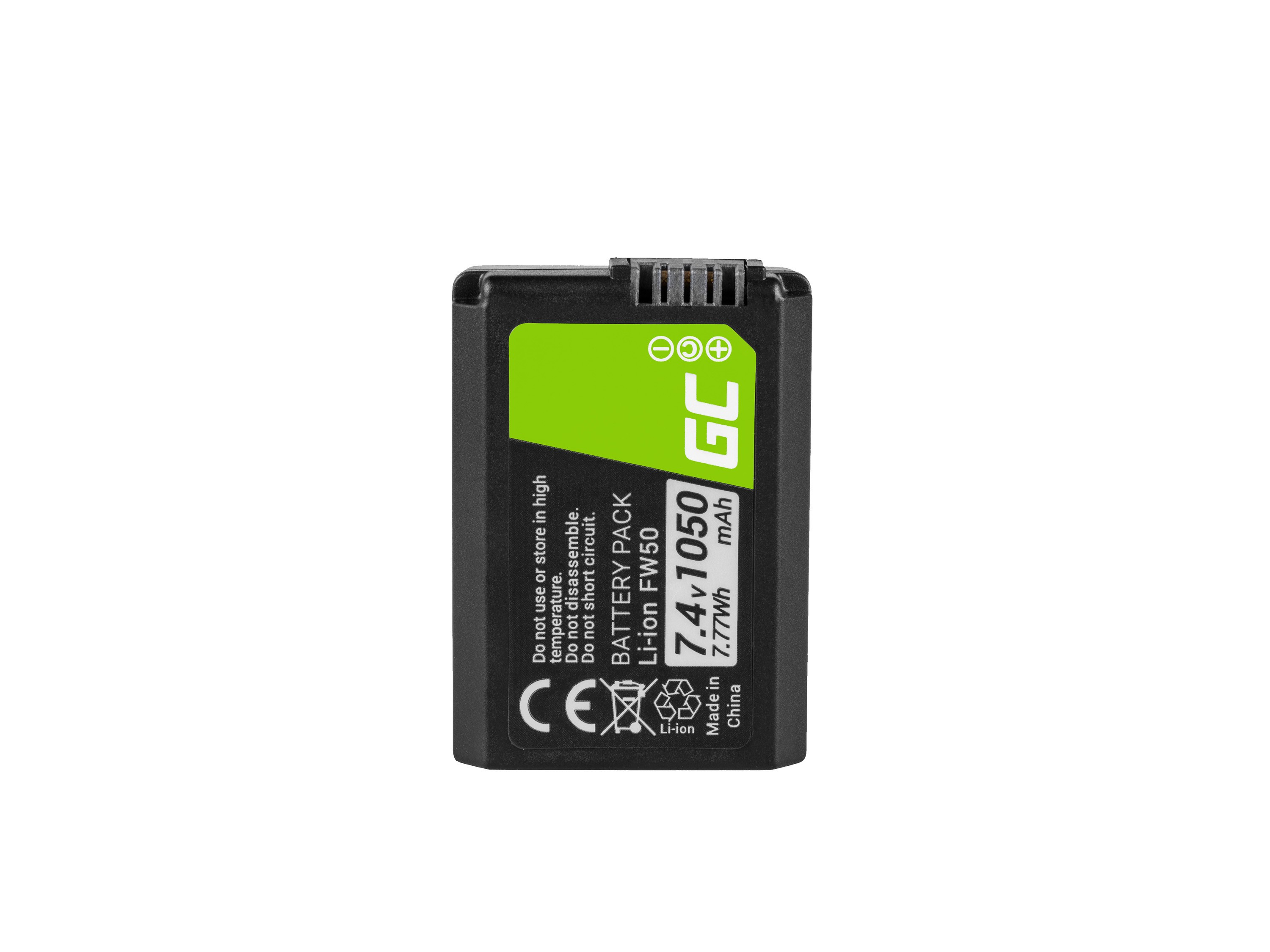 Green Cell FW50 Camera Battery for Sony Alpha A7, A7 II, A7R, A7R II, A7S, A7S II, A5000, A5100, A6000, A6300, A6500 7.4V 1050mA