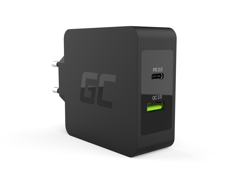Green Cell Nabíječka USB-C 30W PD s port USB QC3.0 a kabel USB-C pro Apple MacBook 12, Lenovo Yoga Tab 3 Plus a ostatní