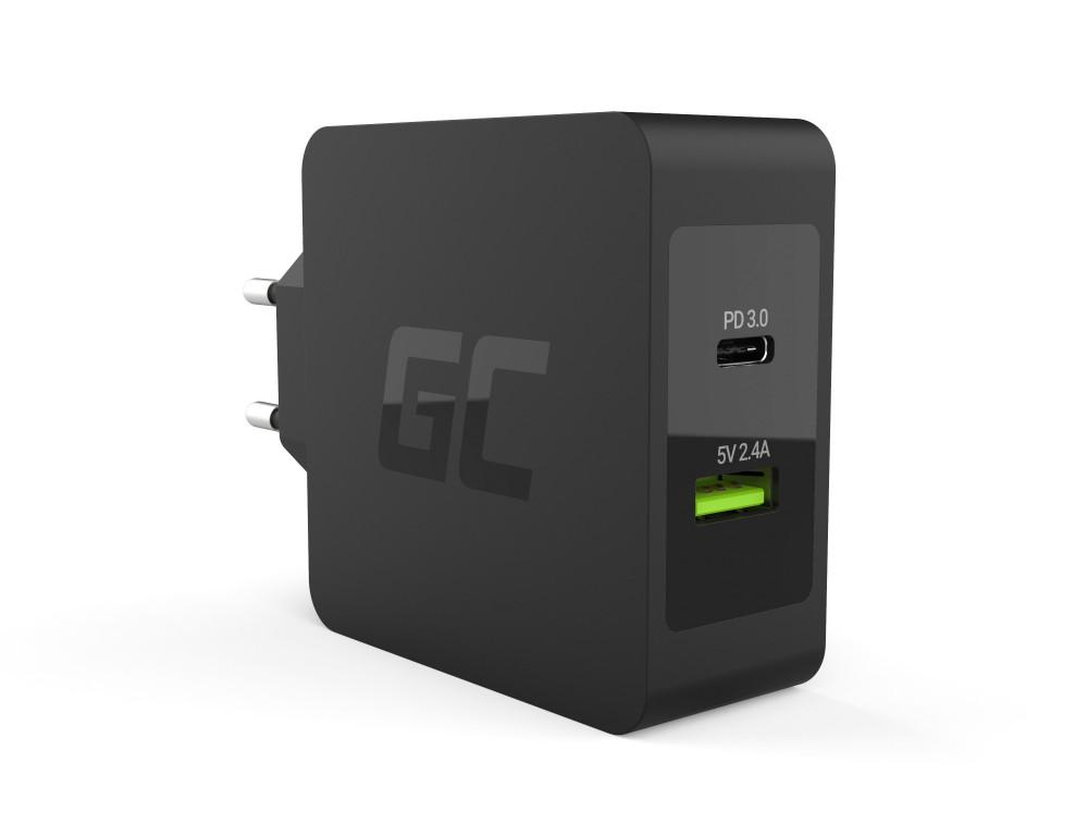 Green Cell hálózati töltő USB-C 45W PD USB-C kábel ,extra USB port