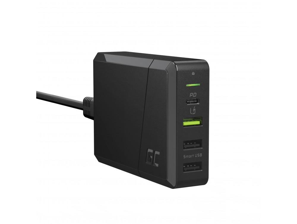 Green Cell  75W 4 portos USB töltő Type-C PD  töltés Ultra Charge technológia