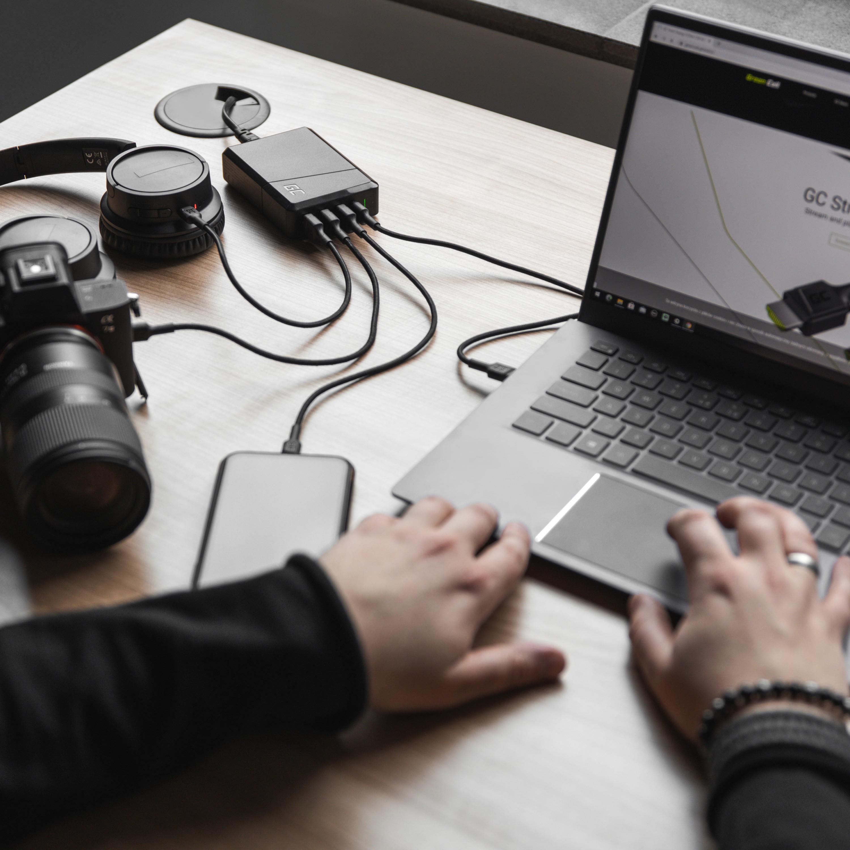 Green Cell Nabíječka ultrabooková USB-C PD nabíječka a technologie Ultra Charge 4 porty 75W
