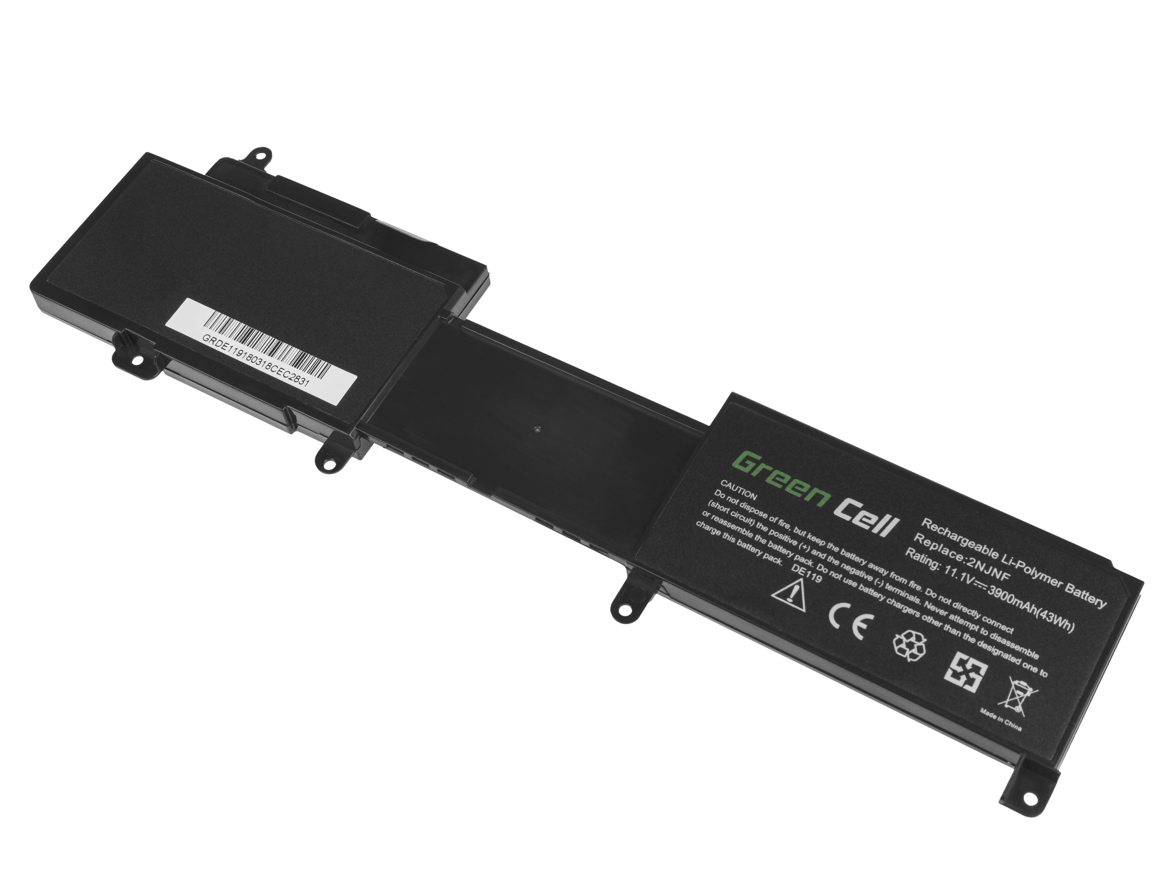 Green Cell DE119 Baterie Dell 2NJNF/8JVDG/BLA010885/BLA010886/T41M0/TPMCF/Dell Inspiron 14z/5423/15z/5523/2NJNF 11,1V 3900mAh Li-Pol – neoriginální