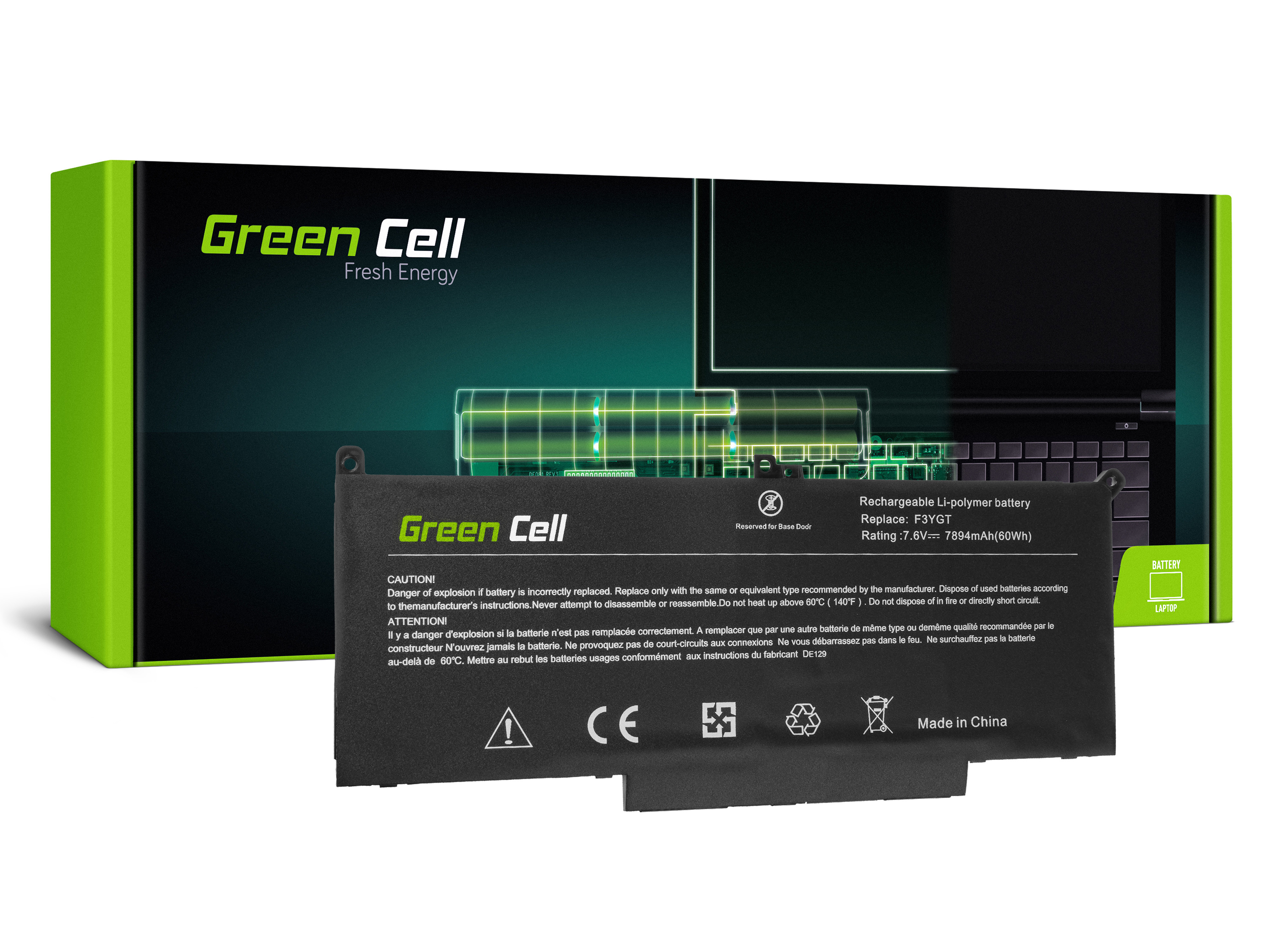 Green Cell DE129 Baterie Dell F3YGT,Dell Latitude 7280 7290 7380 7390 7480 7490 7894mAh Li-Pol – neoriginální